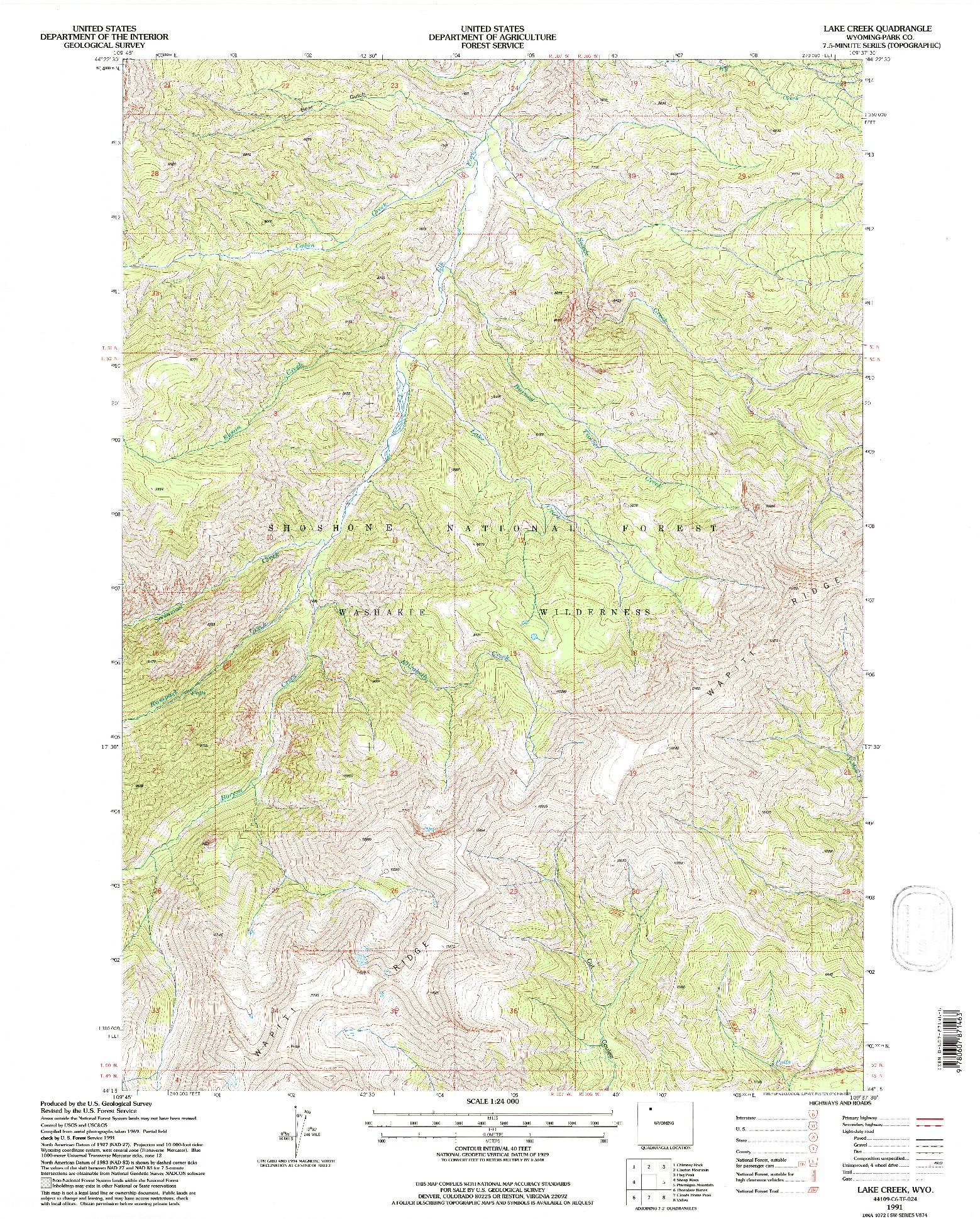 USGS 1:24000-SCALE QUADRANGLE FOR LAKE CREEK, WY 1991