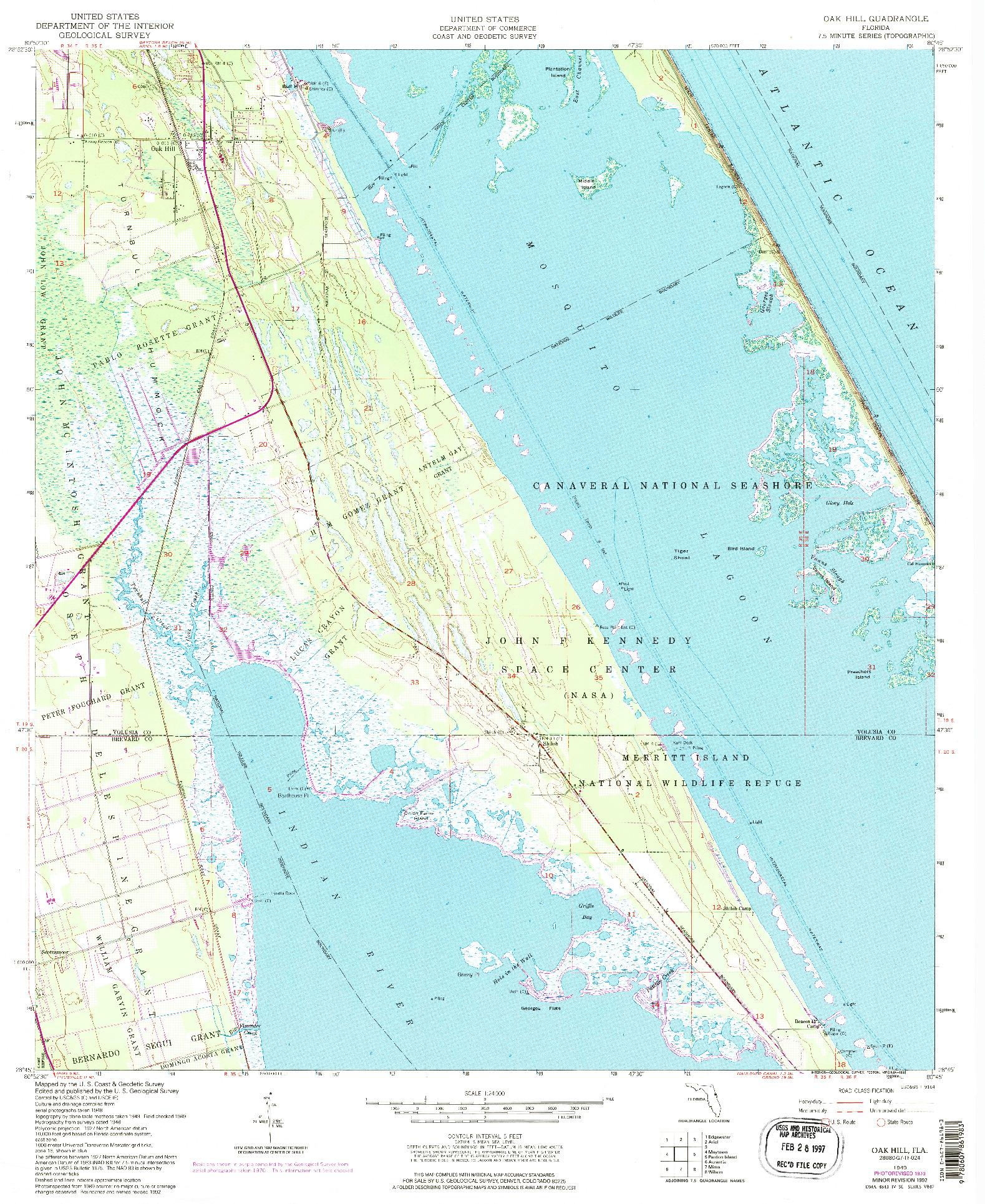 USGS 1:24000-SCALE QUADRANGLE FOR OAK HILL, FL 1949