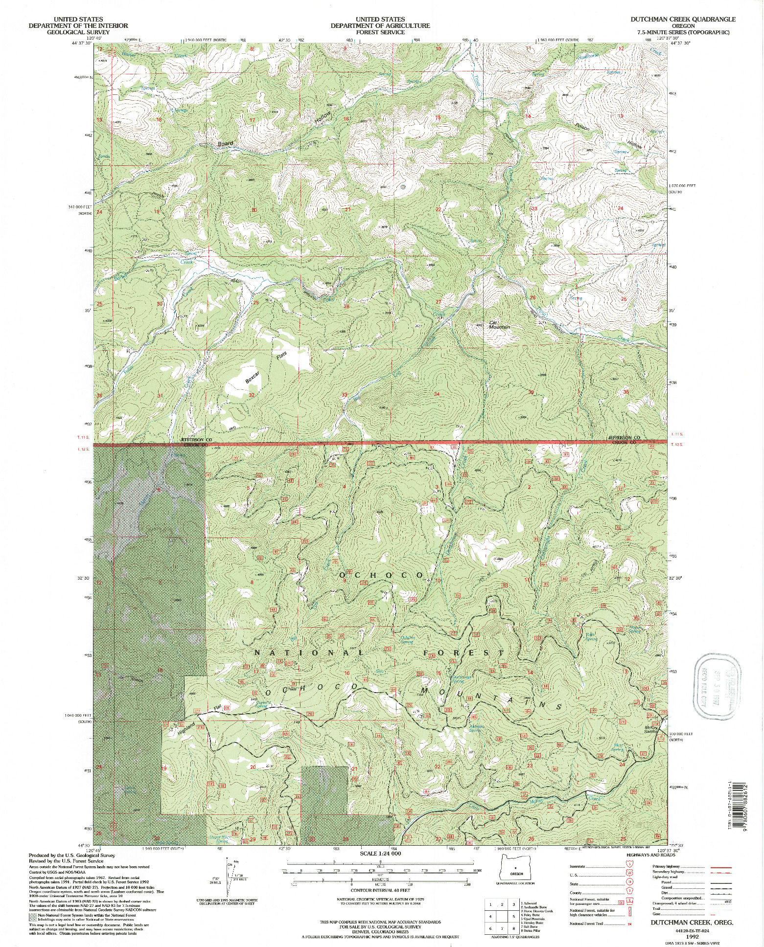 USGS 1:24000-SCALE QUADRANGLE FOR DUTCHMAN CREEK, OR 1992