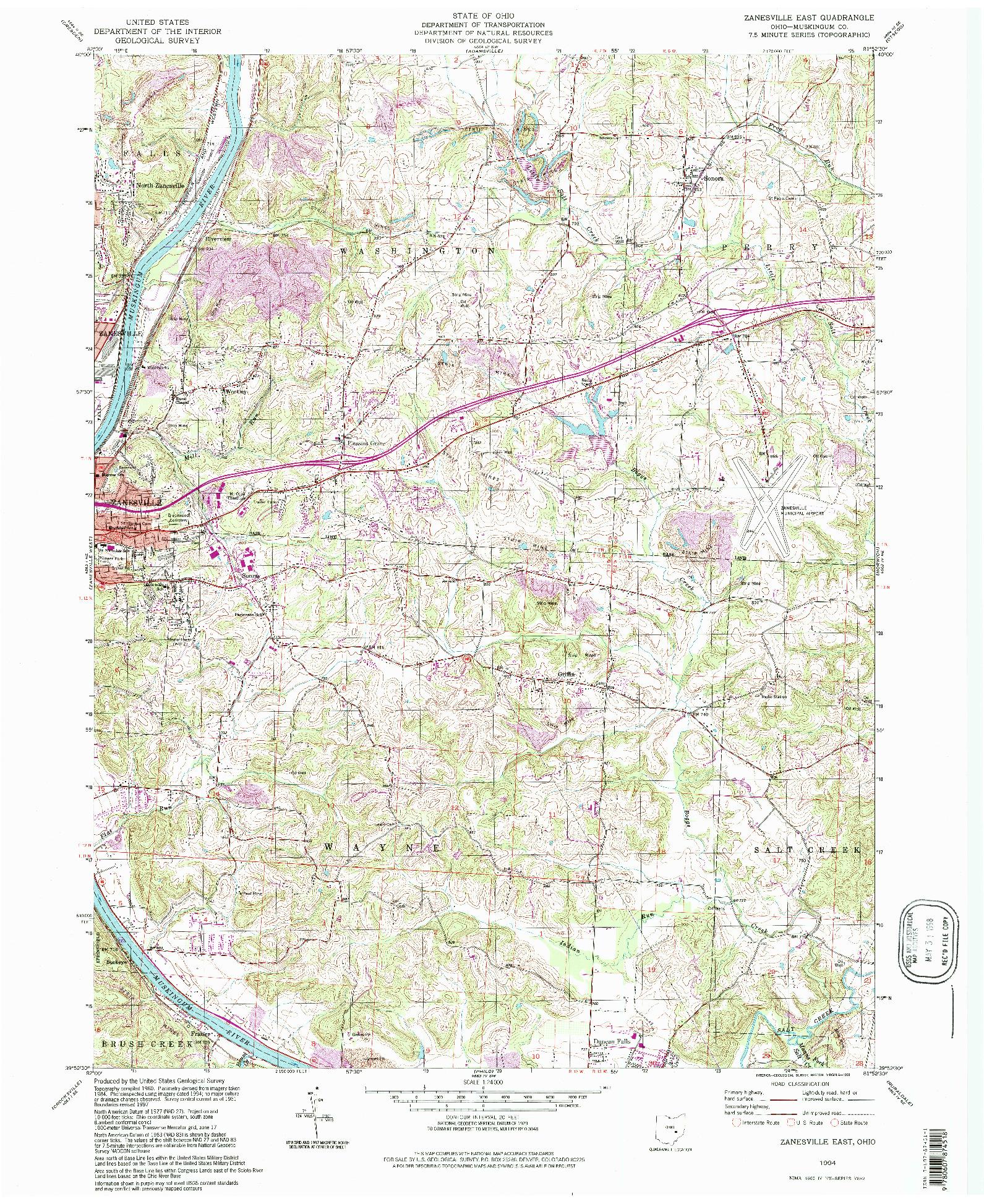 USGS 1:24000-SCALE QUADRANGLE FOR ZANESVILLE EAST, OH 1994