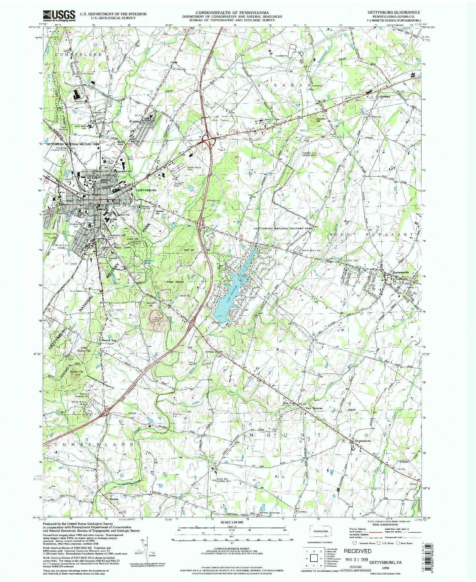 USGS 1:24000-SCALE QUADRANGLE FOR GETTYSBURG, PA 1994