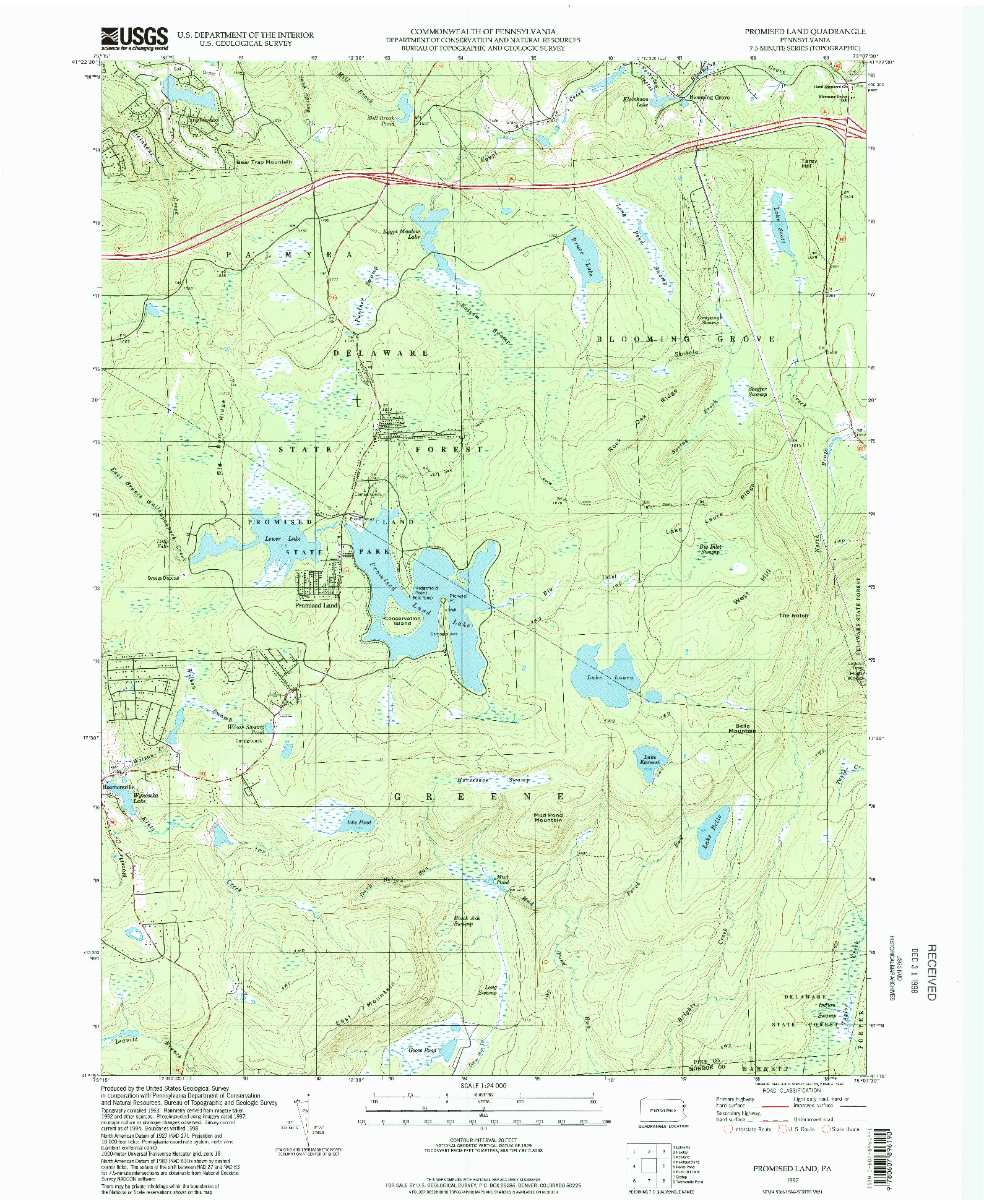USGS 1:24000-SCALE QUADRANGLE FOR PROMISED LAND, PA 1997