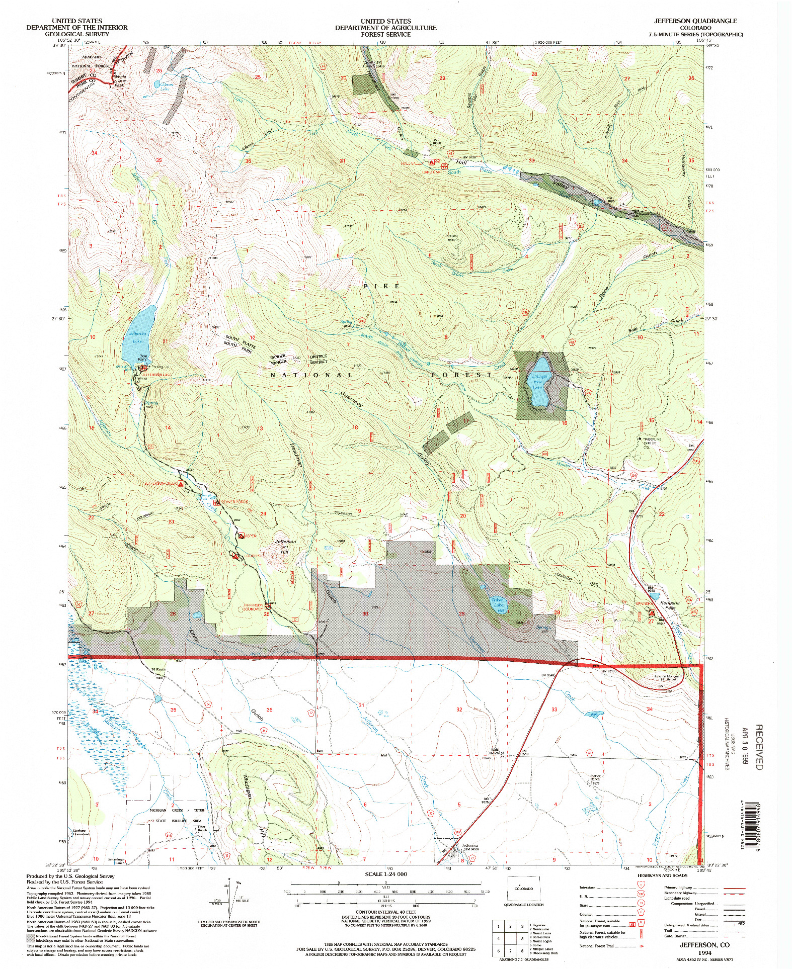 USGS 1:24000-SCALE QUADRANGLE FOR JEFFERSON, CO 1994