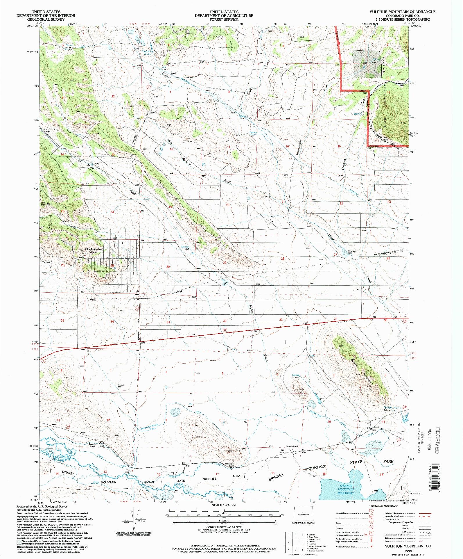 USGS 1:24000-SCALE QUADRANGLE FOR SULPHUR MOUNTAIN, CO 1994