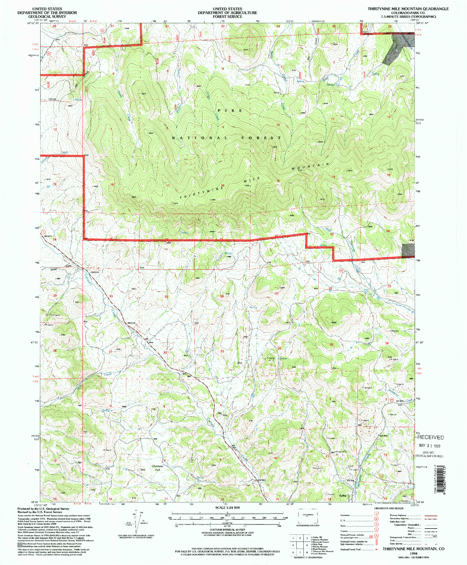 USGS 1:24000-SCALE QUADRANGLE FOR THIRTYNINE MILE MOUNTAIN, CO 1994