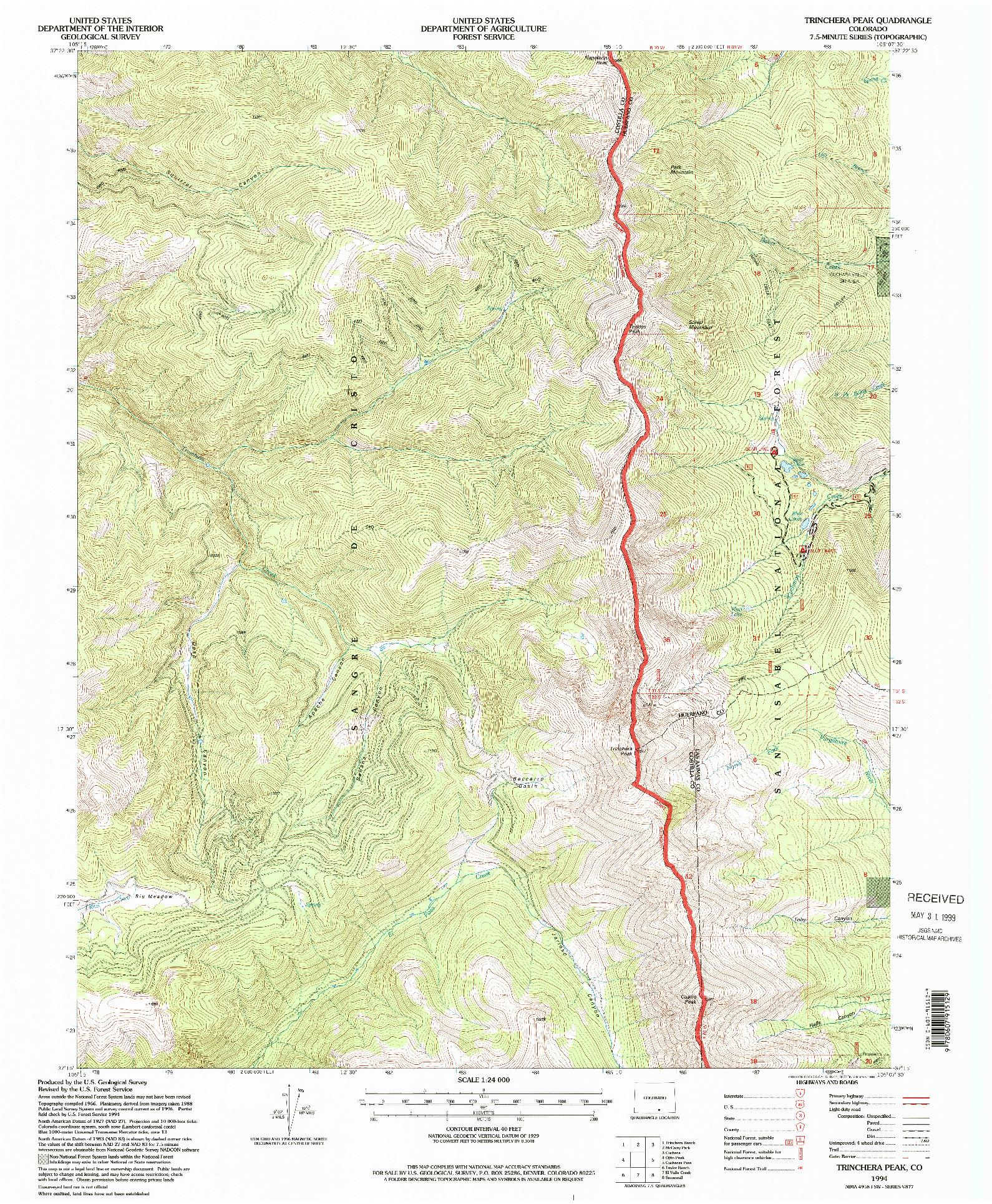 USGS 1:24000-SCALE QUADRANGLE FOR TRINCHERA PEAK, CO 1994