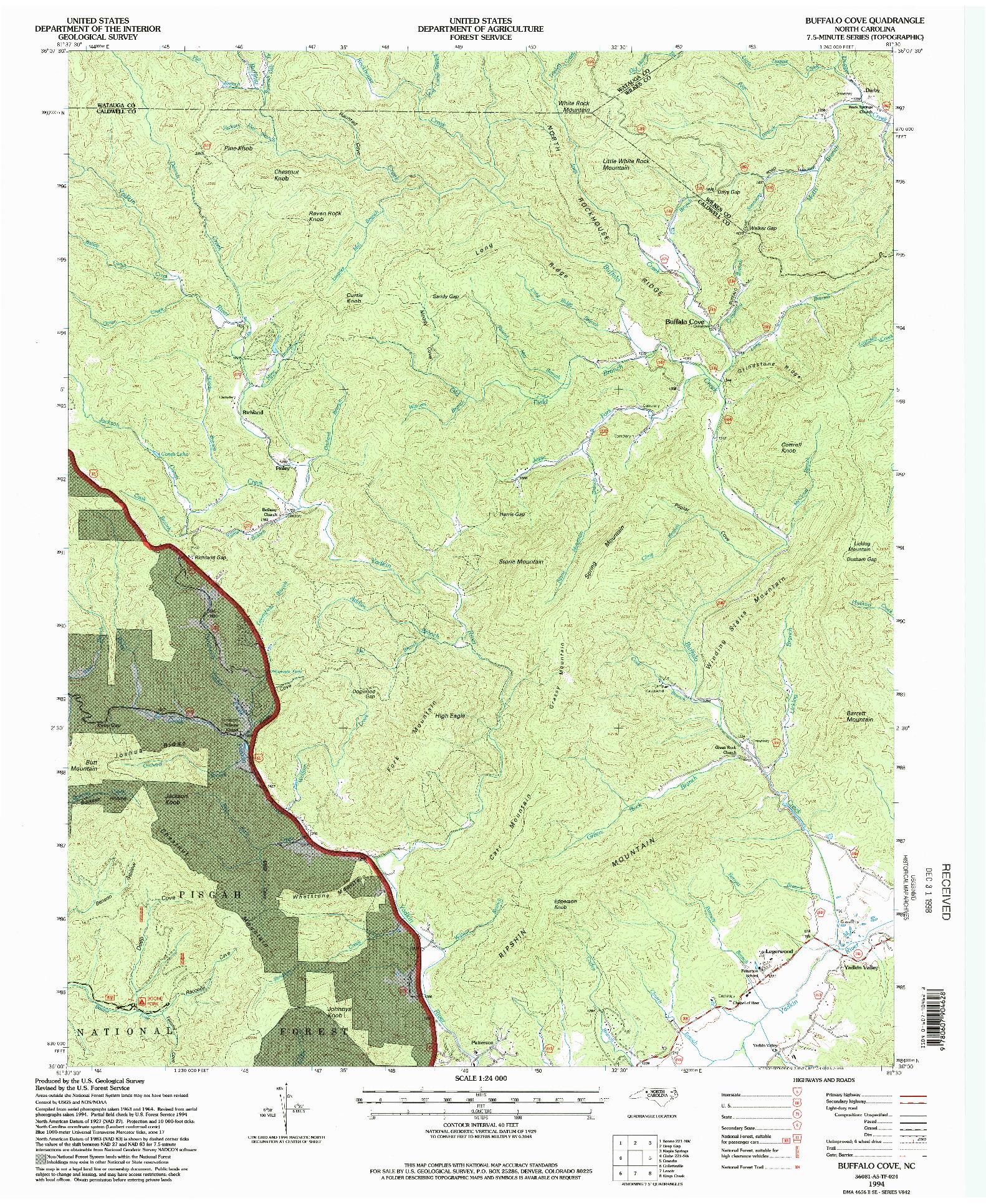 USGS 1:24000-SCALE QUADRANGLE FOR BUFFALO COVE, NC 1994