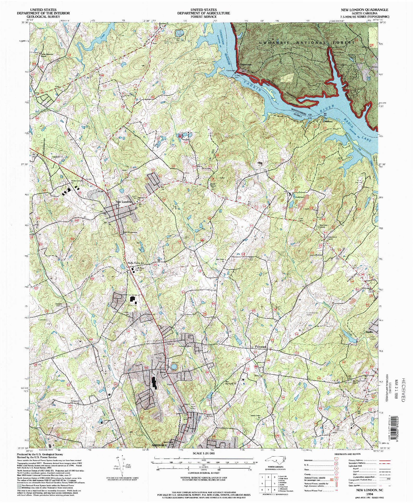 USGS 1:24000-SCALE QUADRANGLE FOR NEW LONDON, NC 1994