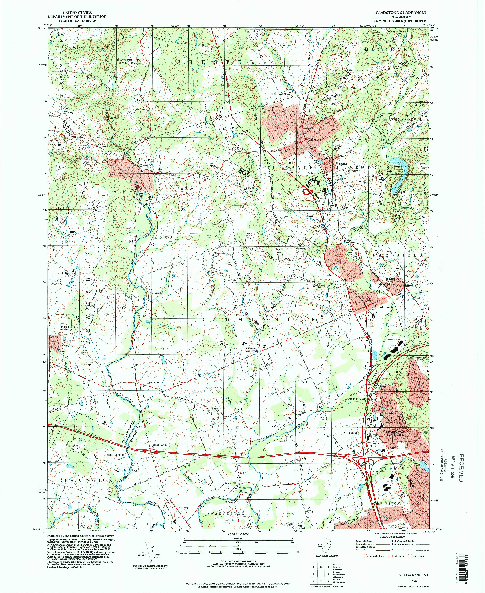 USGS 1:24000-SCALE QUADRANGLE FOR GLADSTONE, NJ 1995