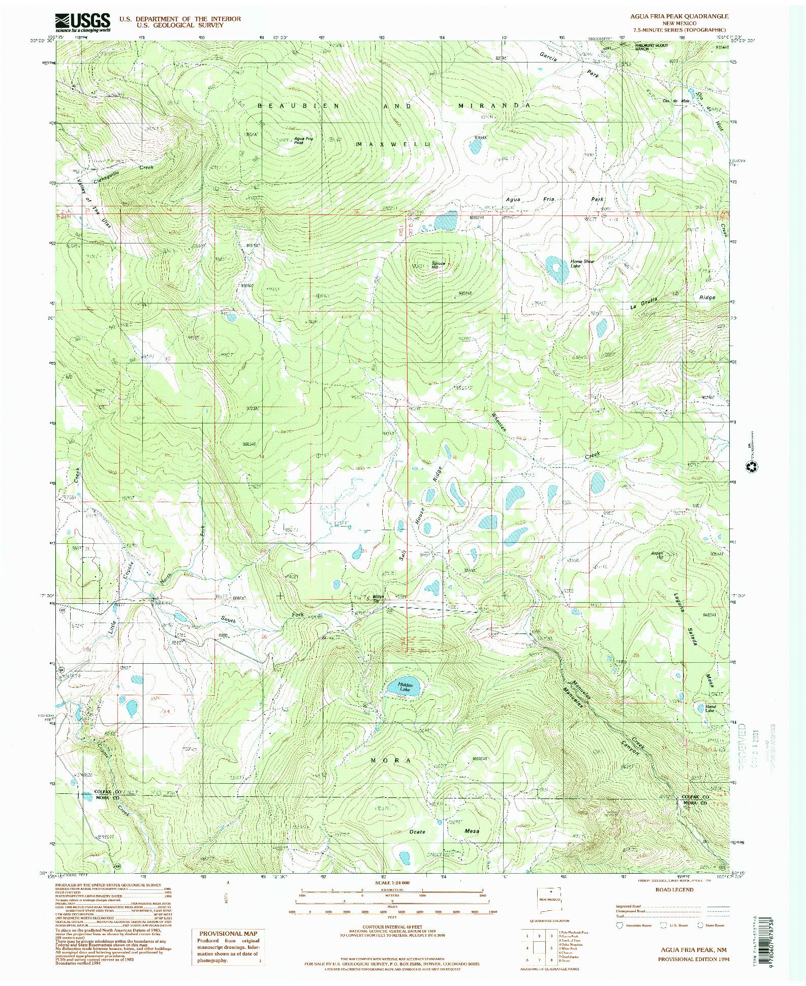 USGS 1:24000-SCALE QUADRANGLE FOR AGUA FRIA PEAK, NM 1994