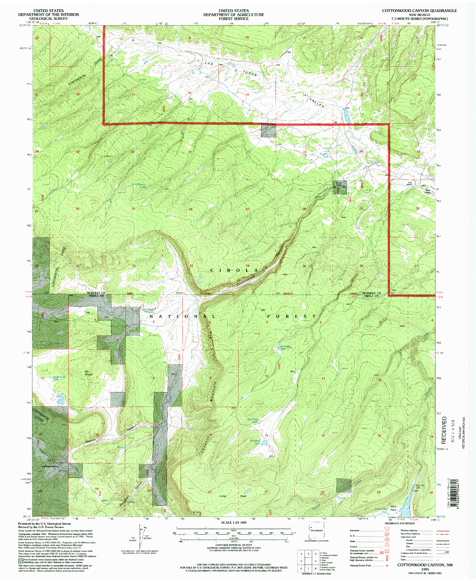 USGS 1:24000-SCALE QUADRANGLE FOR COTTONWOOD CANYON, NM 1995