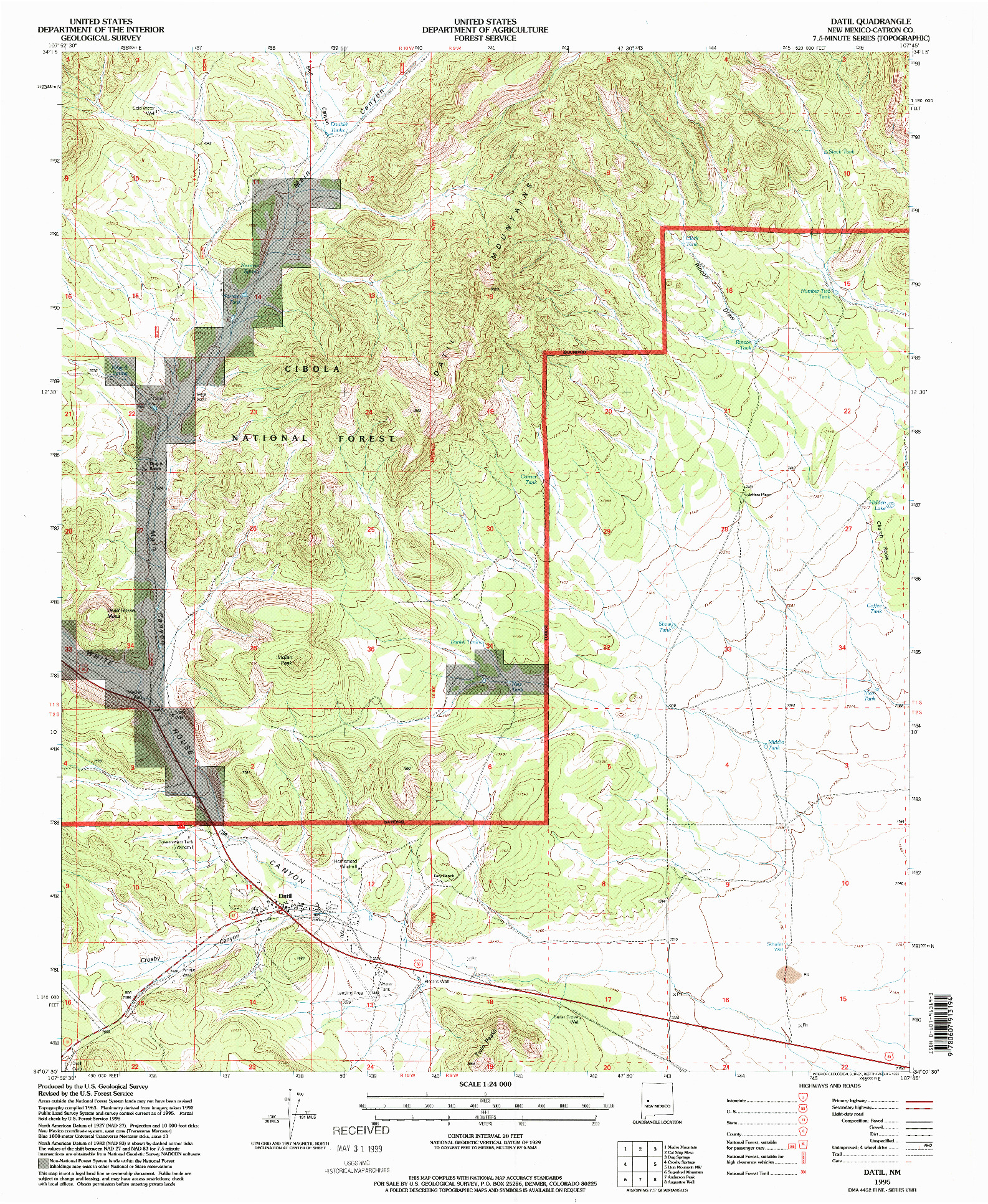 USGS 1:24000-SCALE QUADRANGLE FOR DATIL, NM 1995