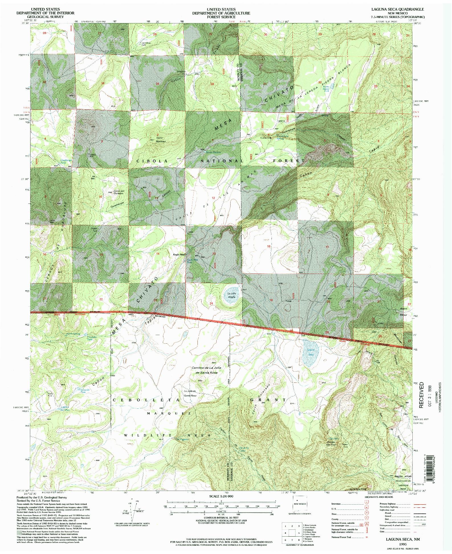 USGS 1:24000-SCALE QUADRANGLE FOR LAGUNA SECA, NM 1995