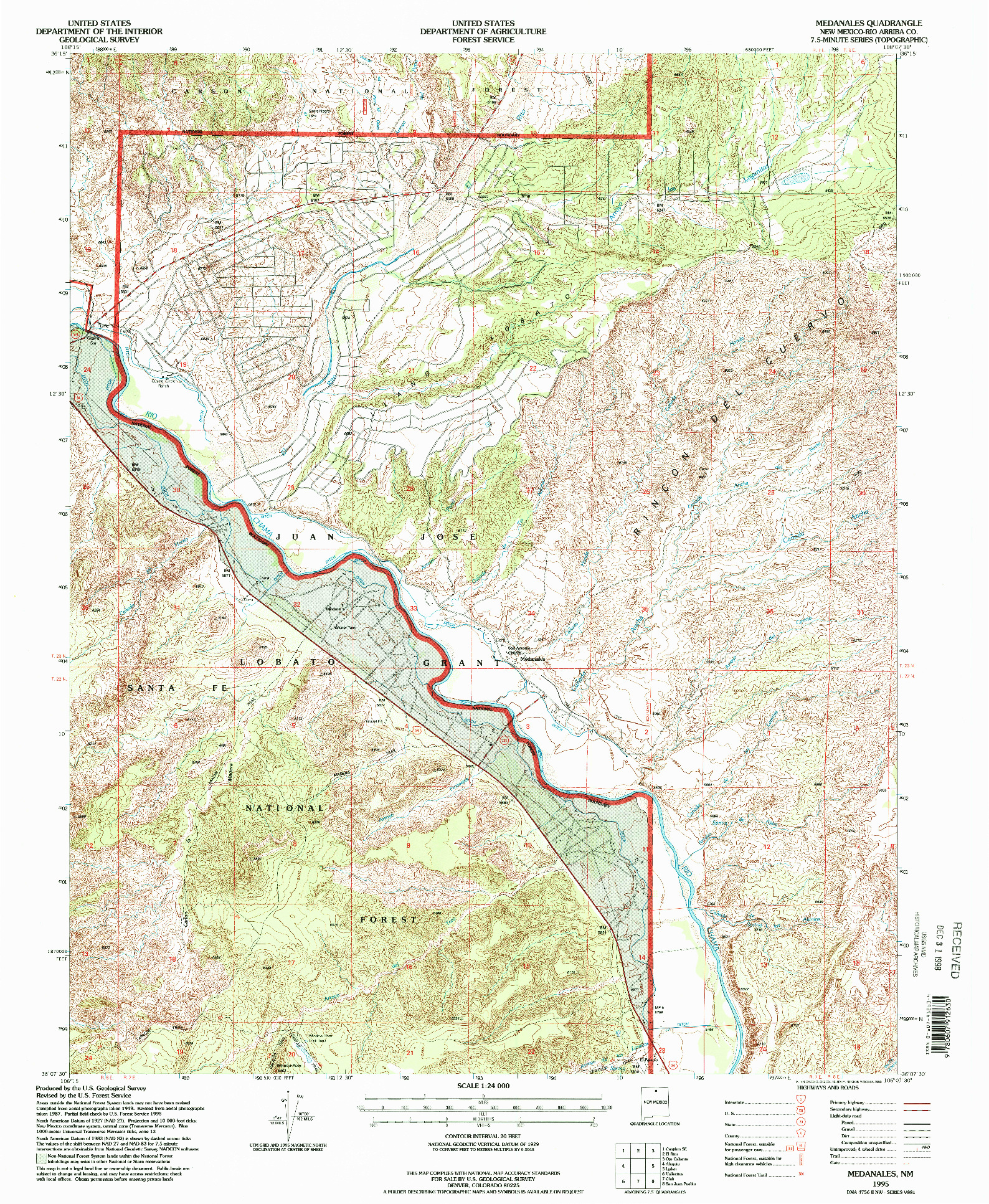 USGS 1:24000-SCALE QUADRANGLE FOR MEDANALES, NM 1995