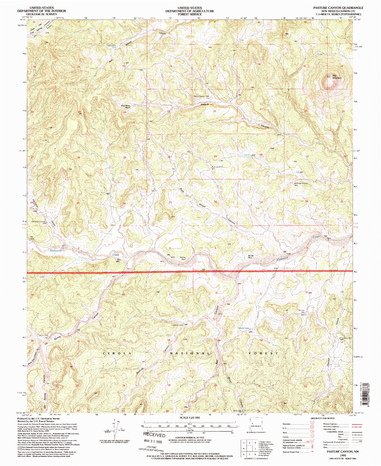 USGS 1:24000-SCALE QUADRANGLE FOR PASTURE CANYON, NM 1995