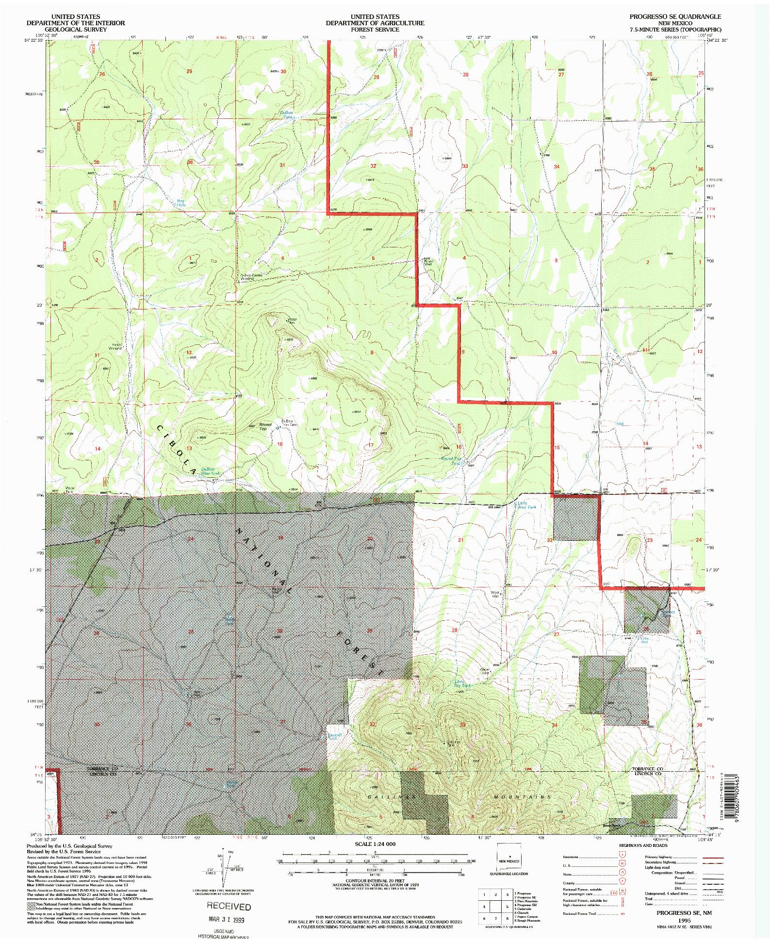 USGS 1:24000-SCALE QUADRANGLE FOR PROGRESSO SE, NM 1995