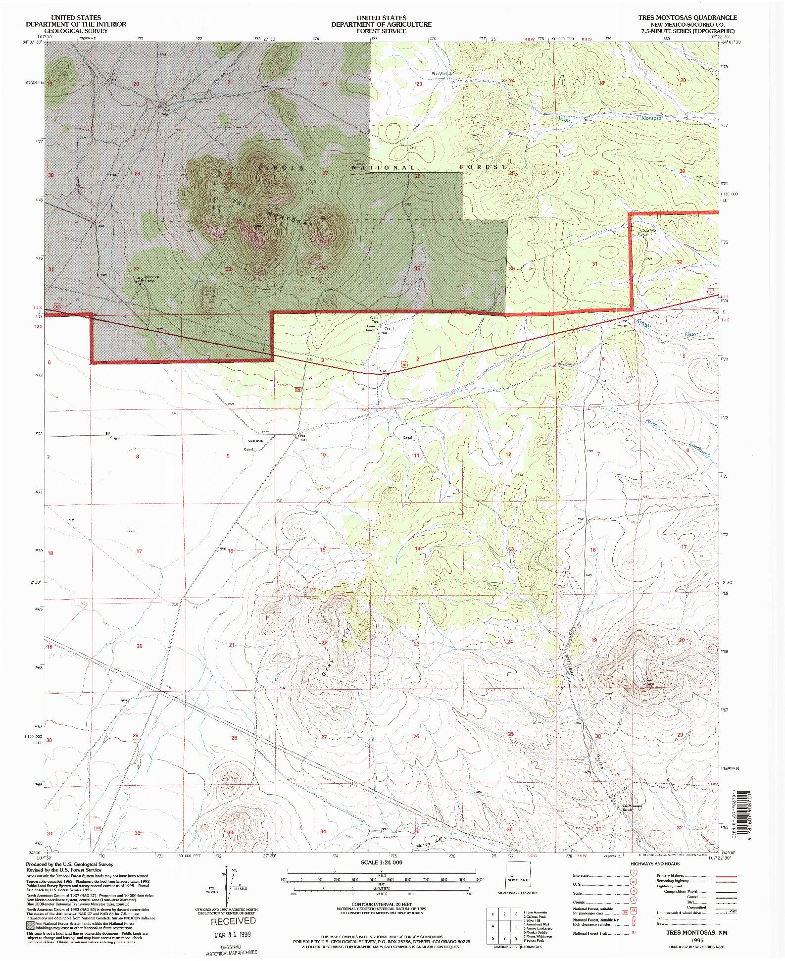 USGS 1:24000-SCALE QUADRANGLE FOR TRES MONTOSAS, NM 1995