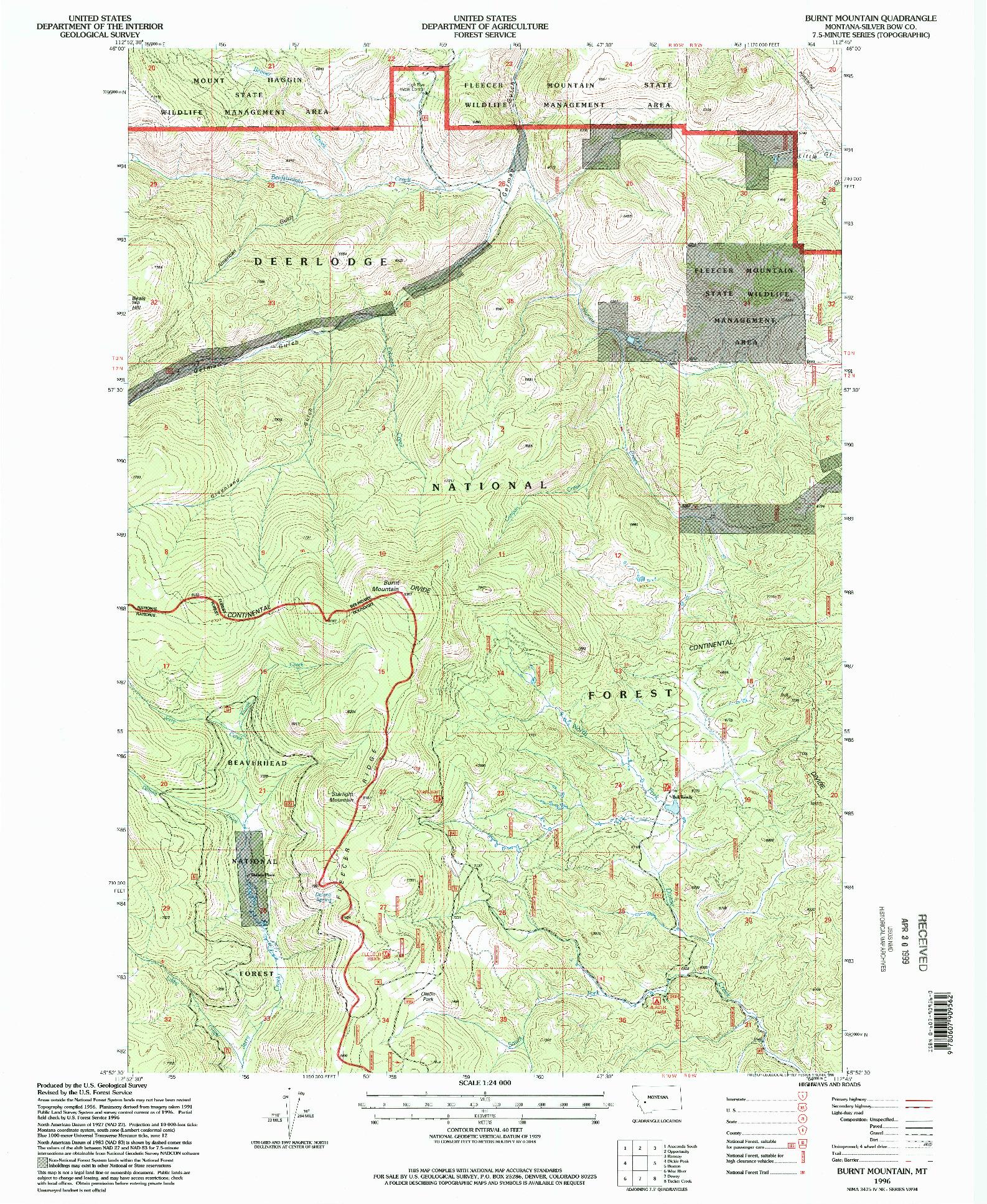 USGS 1:24000-SCALE QUADRANGLE FOR BURNT MOUNTAIN, MT 1996