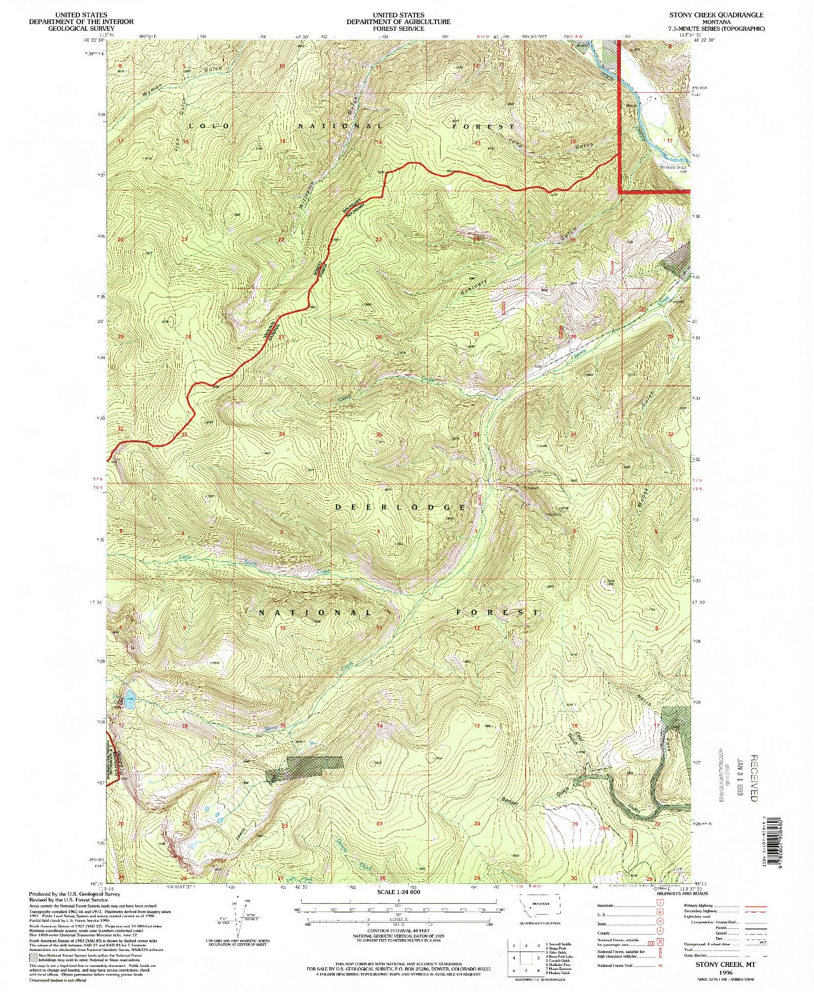 USGS 1:24000-SCALE QUADRANGLE FOR STONY CREEK, MT 1996