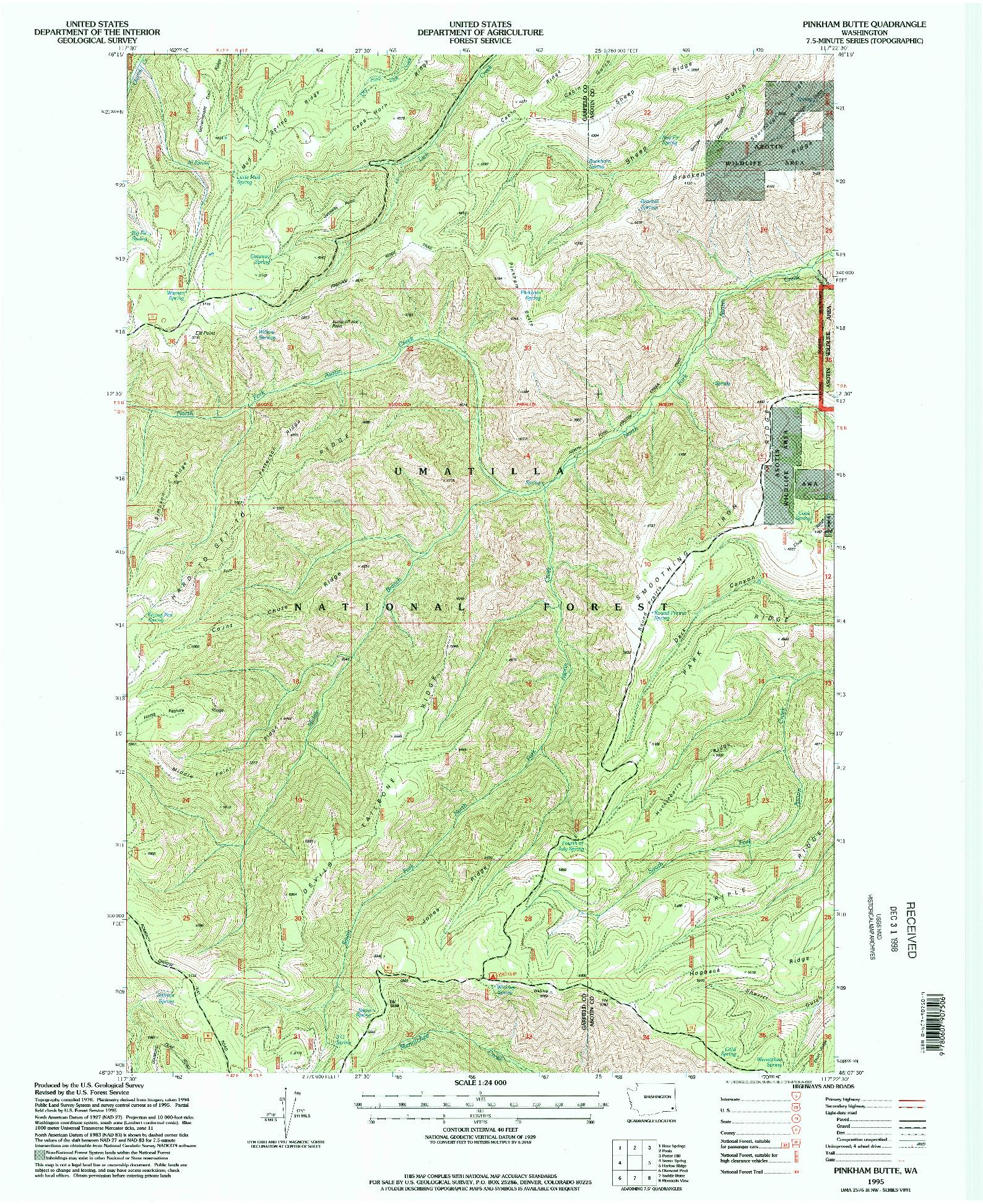 USGS 1:24000-SCALE QUADRANGLE FOR PINKHAM BUTTE, WA 1995