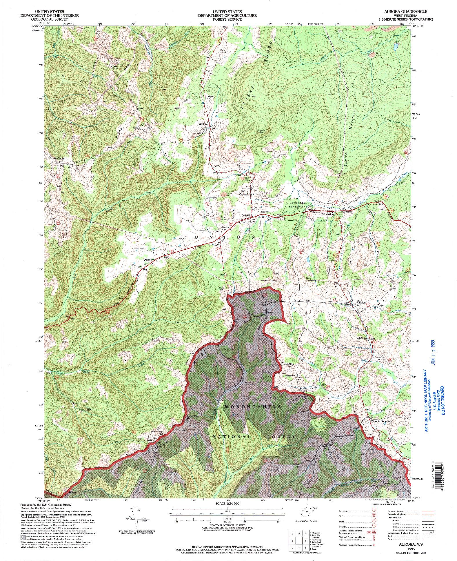USGS 1:24000-SCALE QUADRANGLE FOR AURORA, WV 1995
