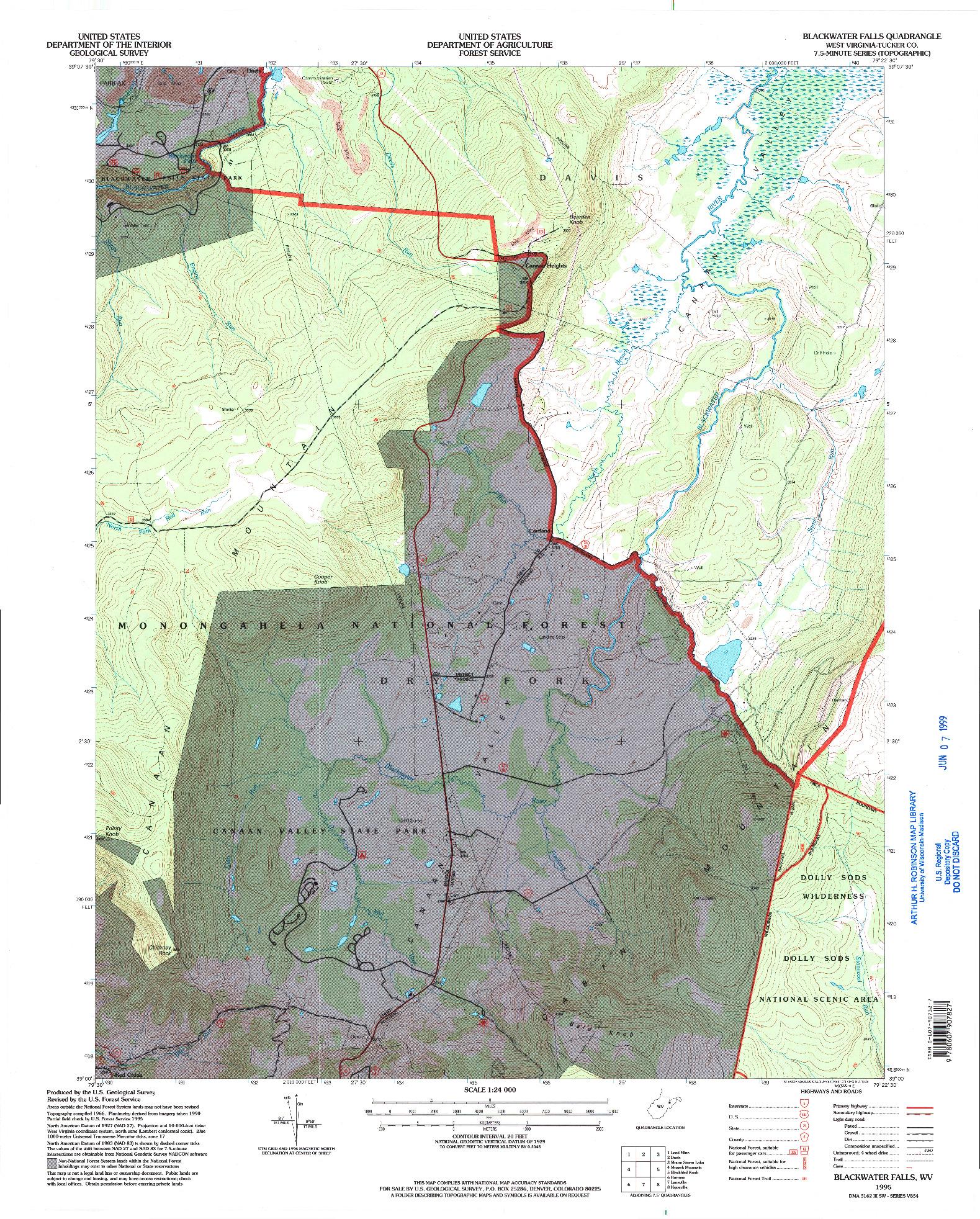 USGS 1:24000-SCALE QUADRANGLE FOR BLACKWATER FALLS, WV 1995
