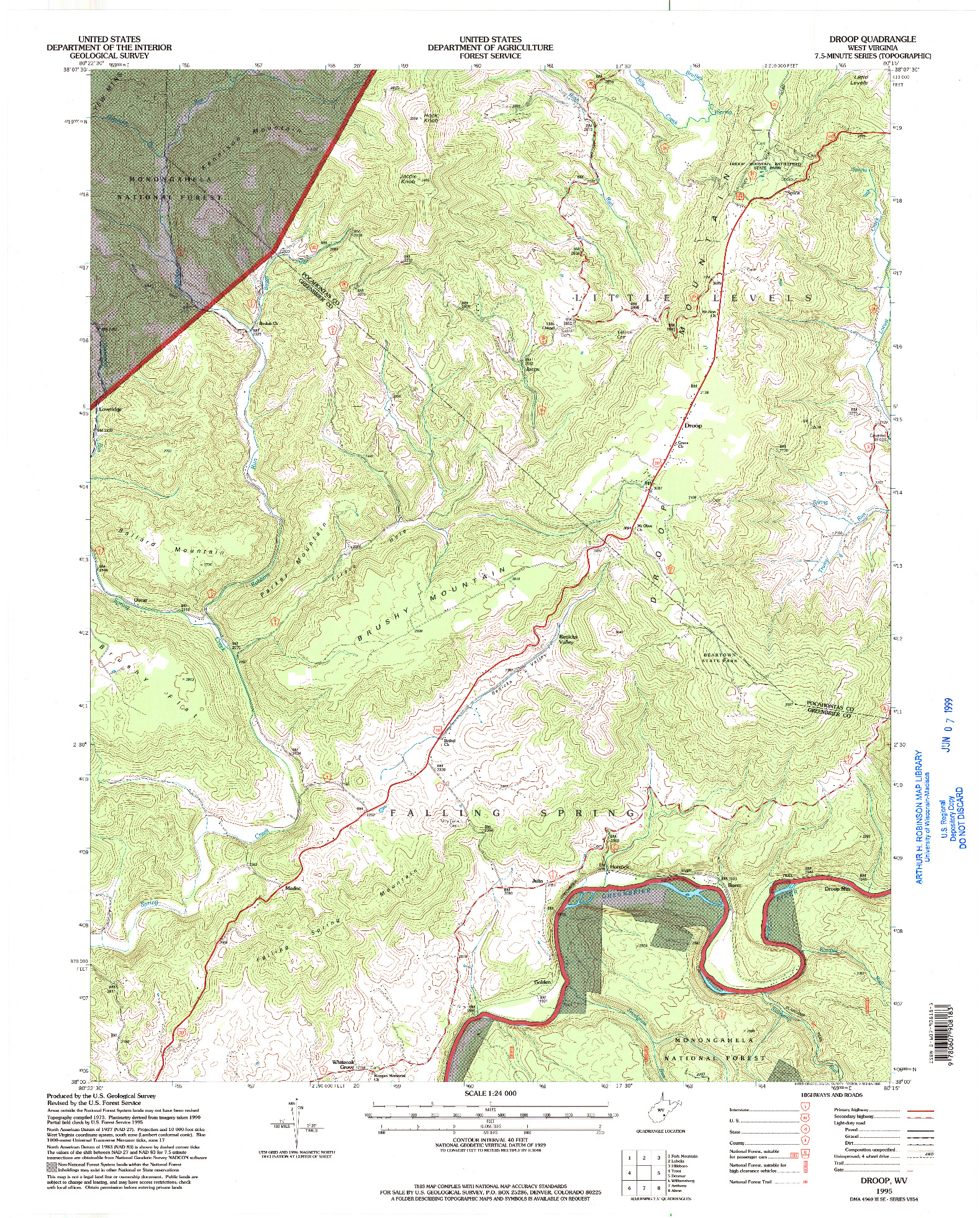 USGS 1:24000-SCALE QUADRANGLE FOR DROOP, WV 1995