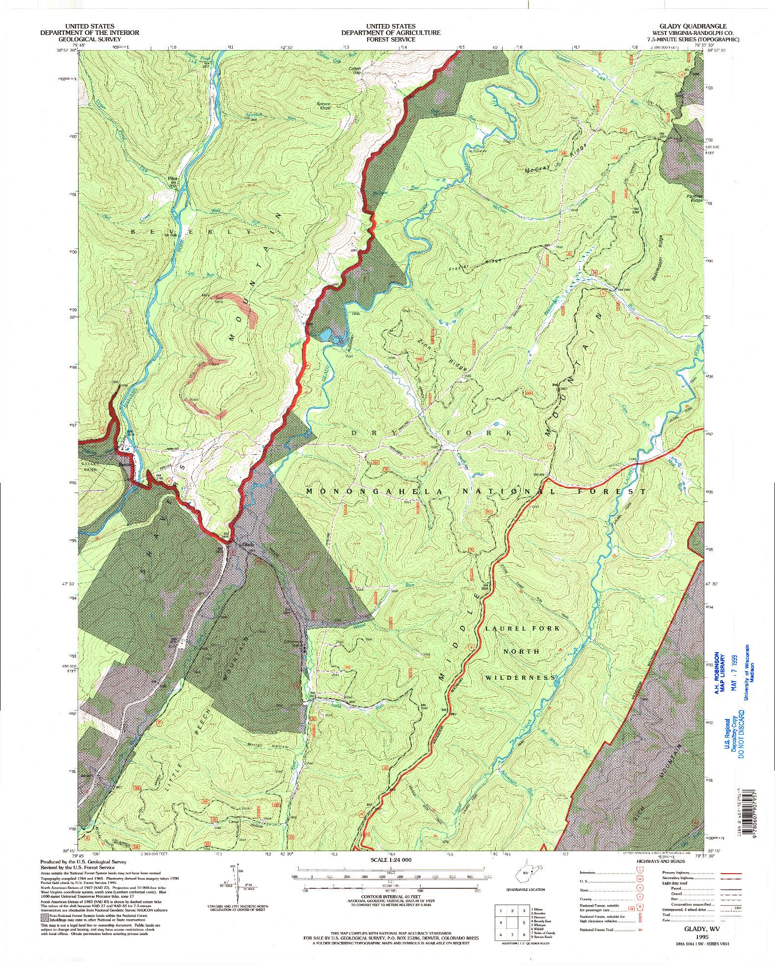 USGS 1:24000-SCALE QUADRANGLE FOR GLADY, WV 1995