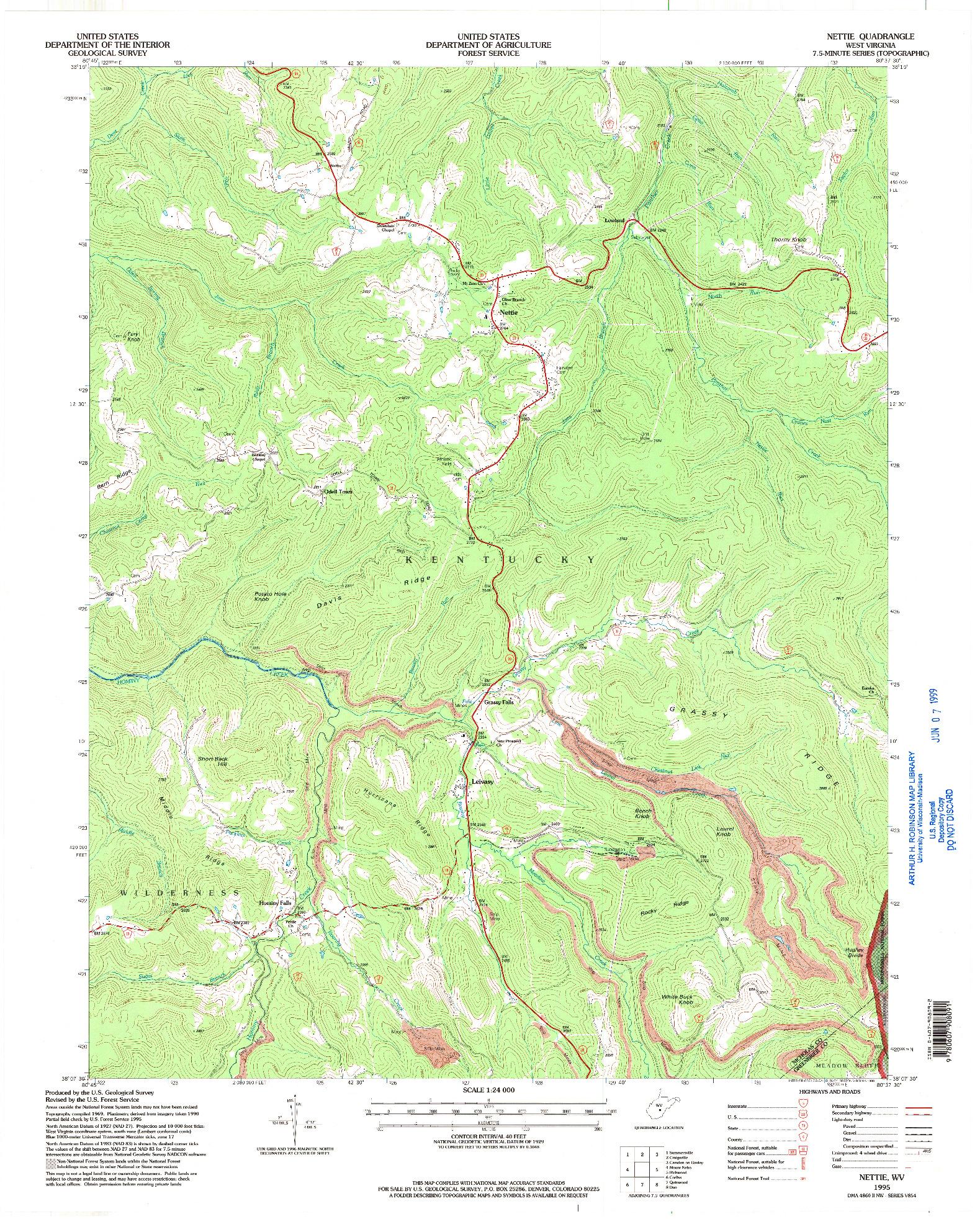 USGS 1:24000-SCALE QUADRANGLE FOR NETTIE, WV 1995