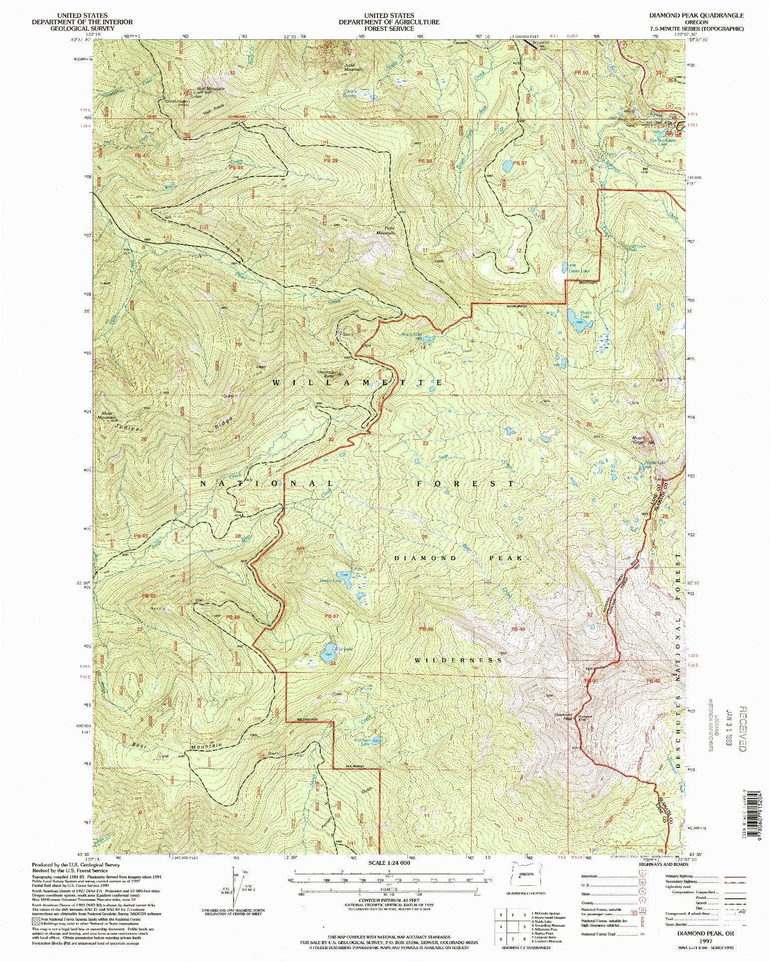 USGS 1:24000-SCALE QUADRANGLE FOR DIAMOND PEAK, OR 1997