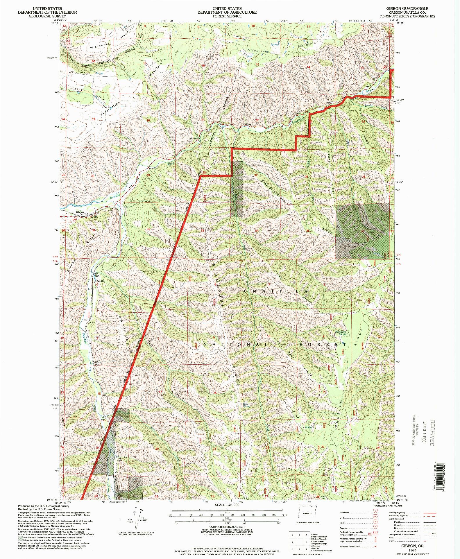 USGS 1:24000-SCALE QUADRANGLE FOR GIBBON, OR 1995