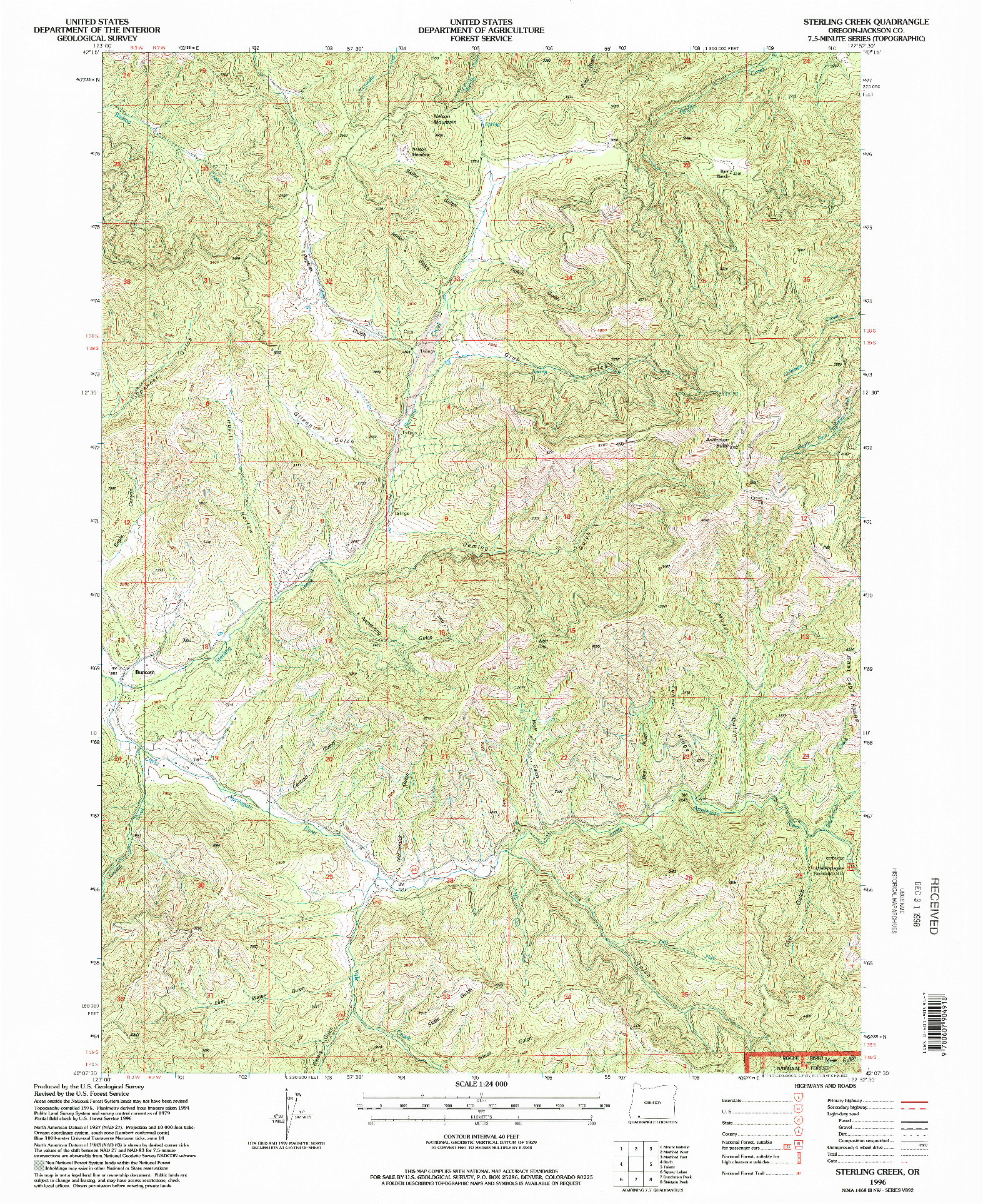 USGS 1:24000-SCALE QUADRANGLE FOR STERLING CREEK, OR 1996