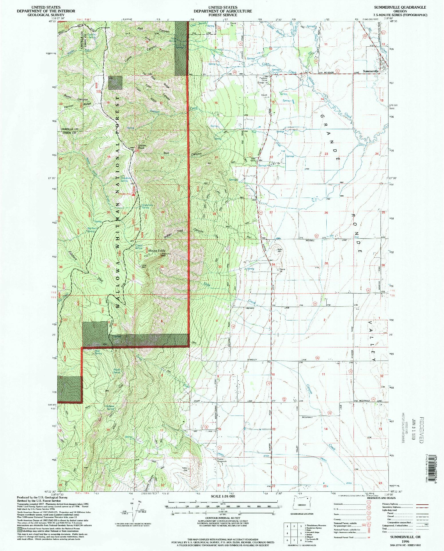 USGS 1:24000-SCALE QUADRANGLE FOR SUMMERVILLE, OR 1996