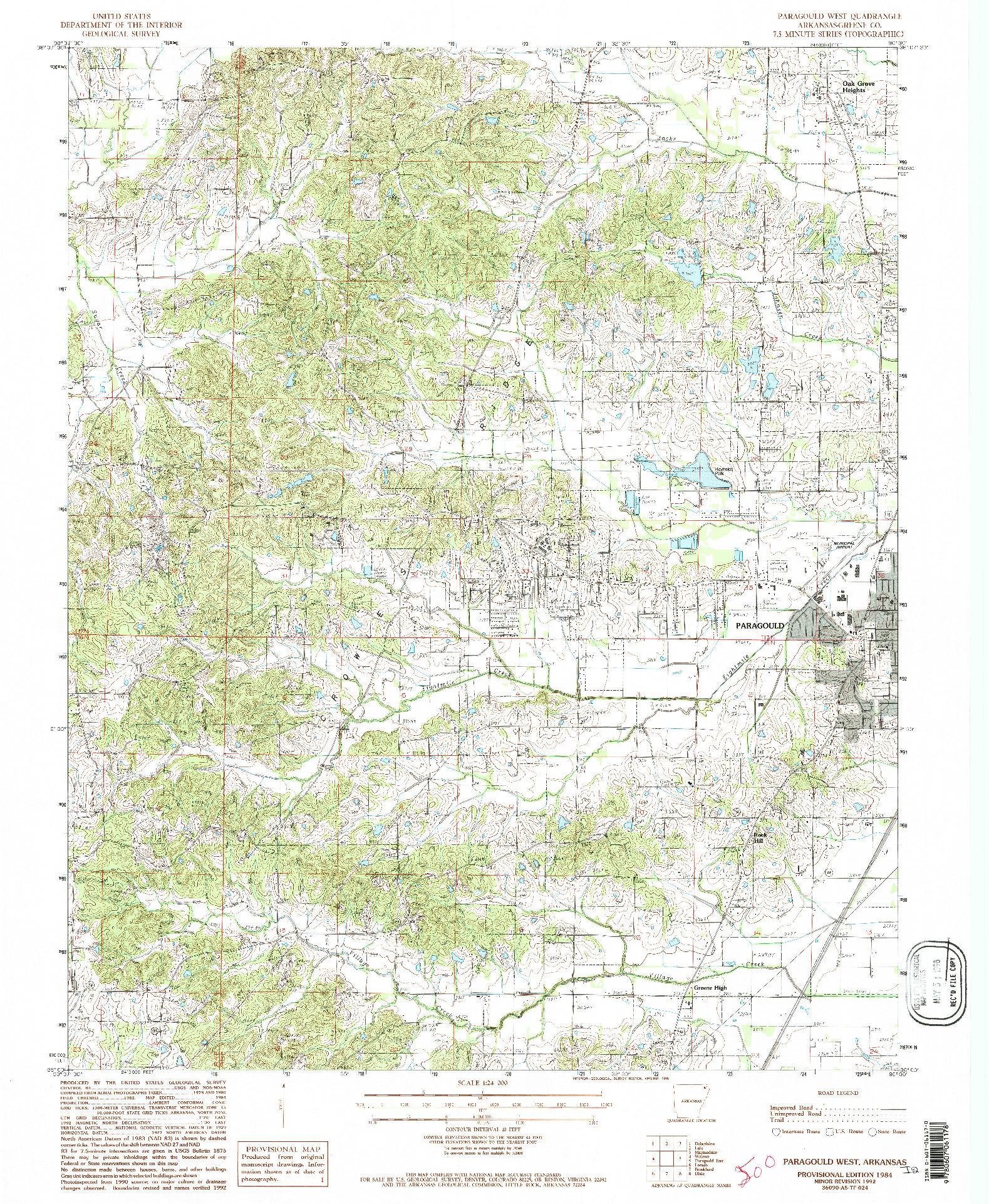 USGS 1:24000-SCALE QUADRANGLE FOR PARAGOULD WEST, AR 1984