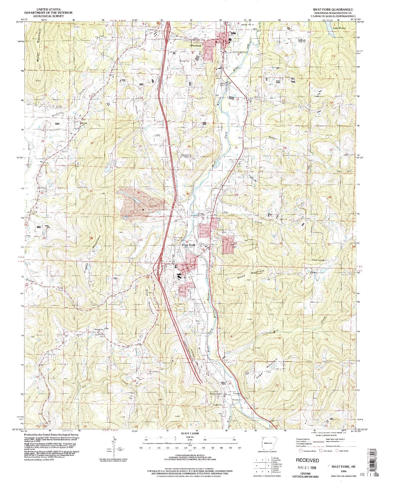 USGS 1:24000-SCALE QUADRANGLE FOR WEST FORK, AR 1994