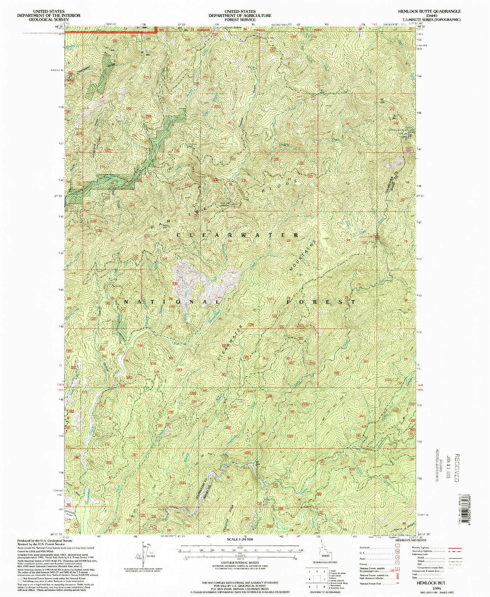 USGS 1:24000-SCALE QUADRANGLE FOR HEMLOCK BUTTE, ID 1994
