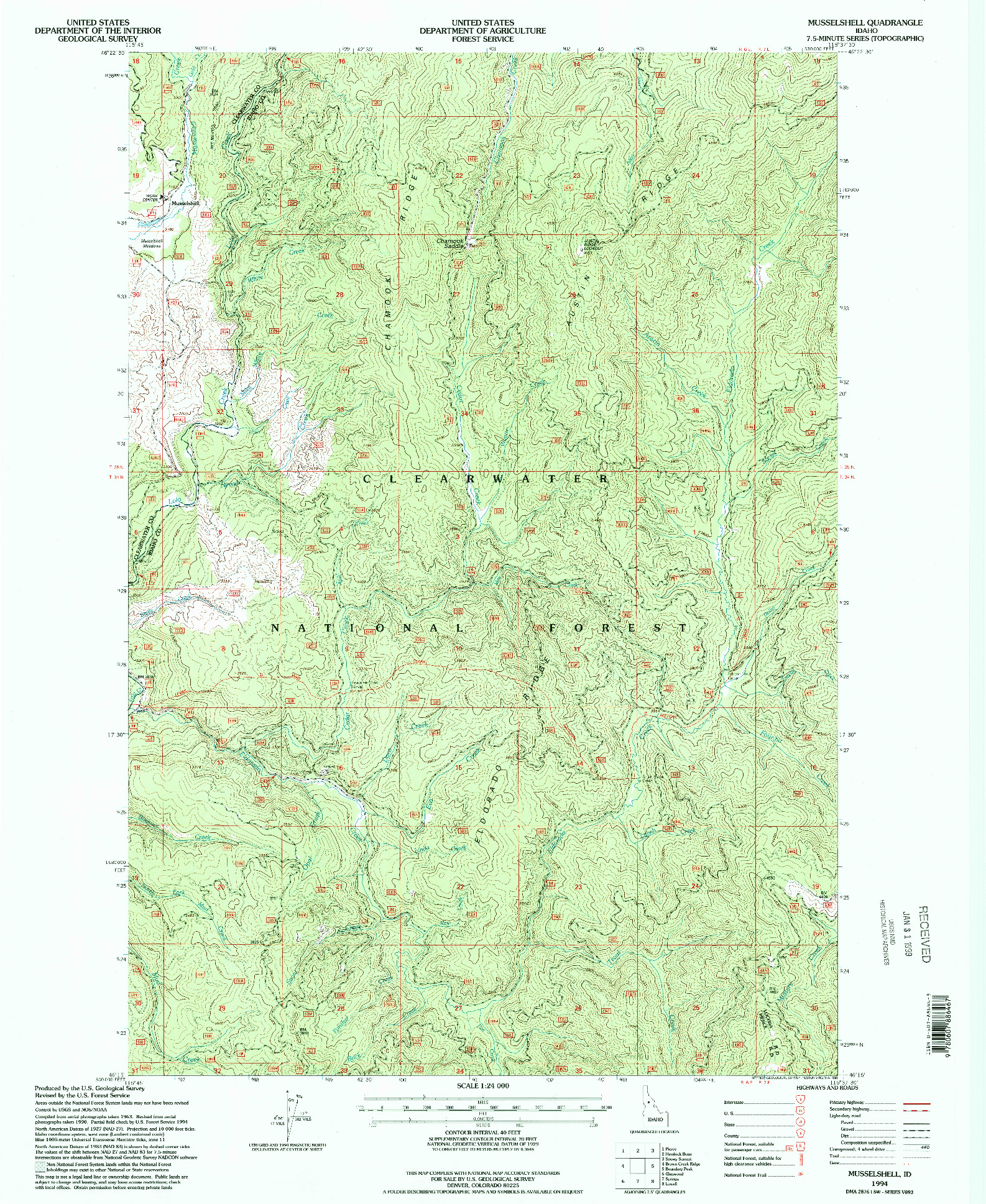 USGS 1:24000-SCALE QUADRANGLE FOR MUSSELSHELL, ID 1994