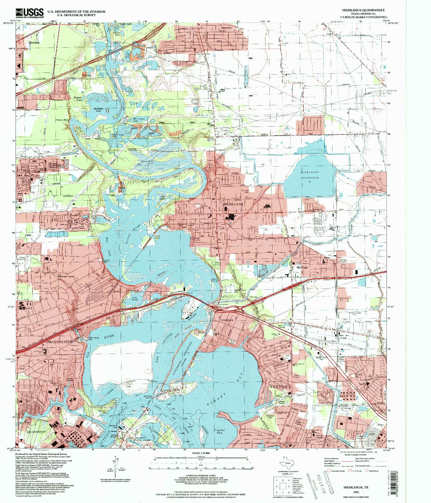 USGS 1:24000-SCALE QUADRANGLE FOR HIGHLANDS, TX 1995