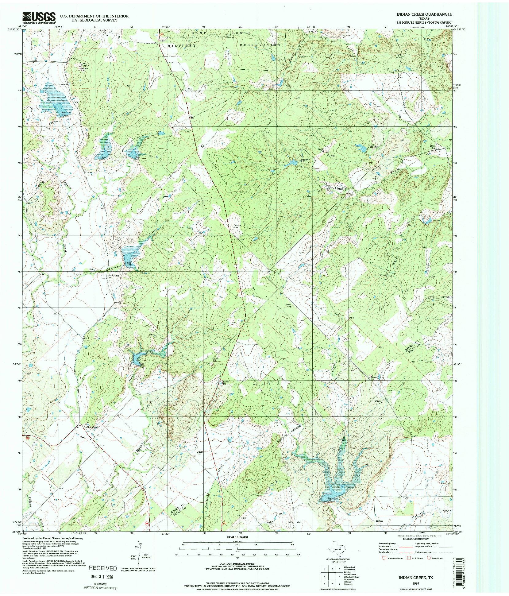 USGS 1:24000-SCALE QUADRANGLE FOR INDIAN CREEK, TX 1997