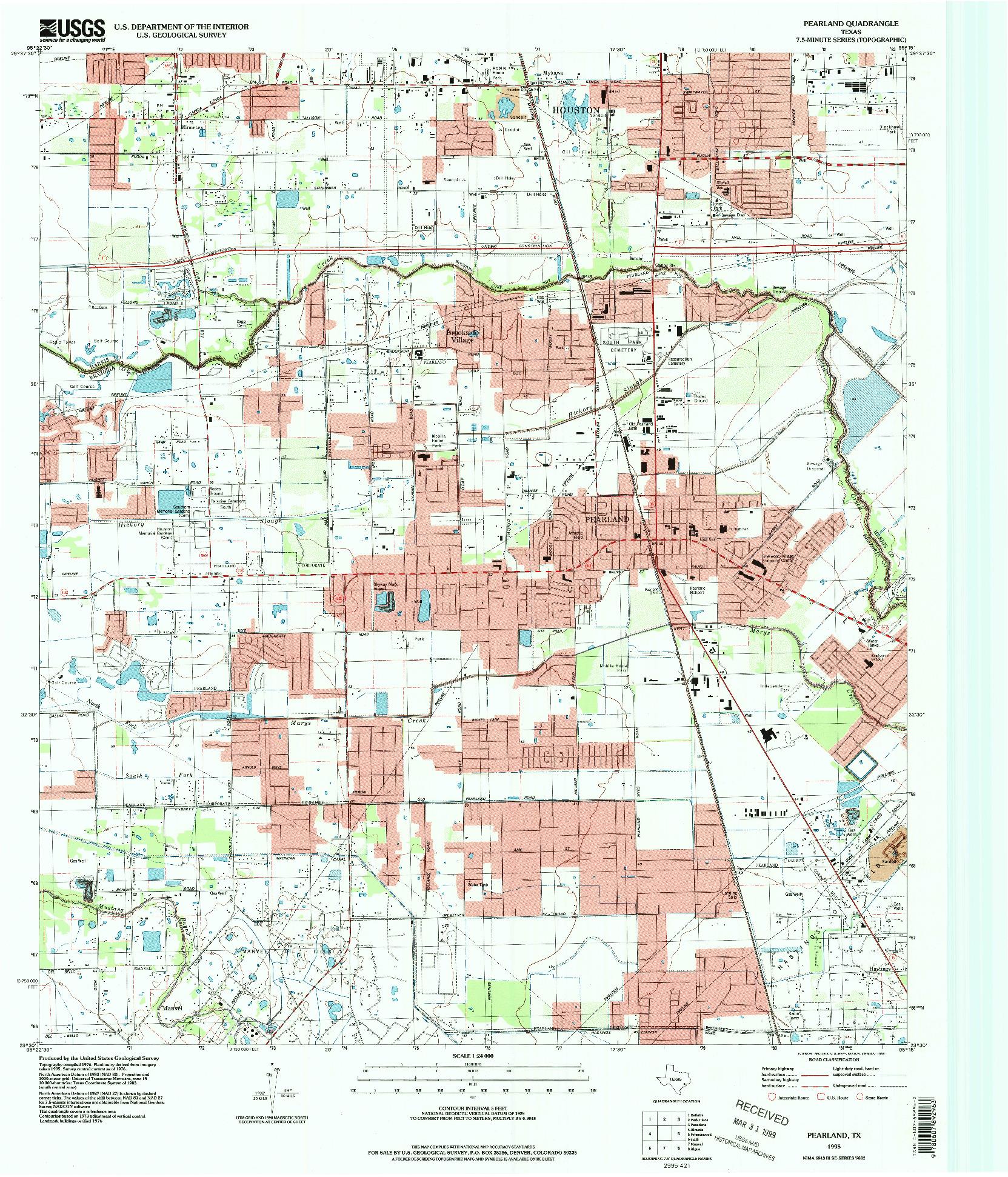 USGS 1:24000-SCALE QUADRANGLE FOR PEARLAND, TX 1995