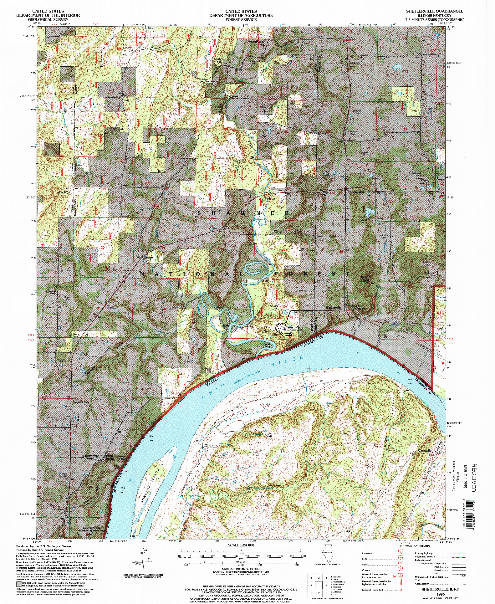 USGS 1:24000-SCALE QUADRANGLE FOR SHETLERVILLE, IL 1996