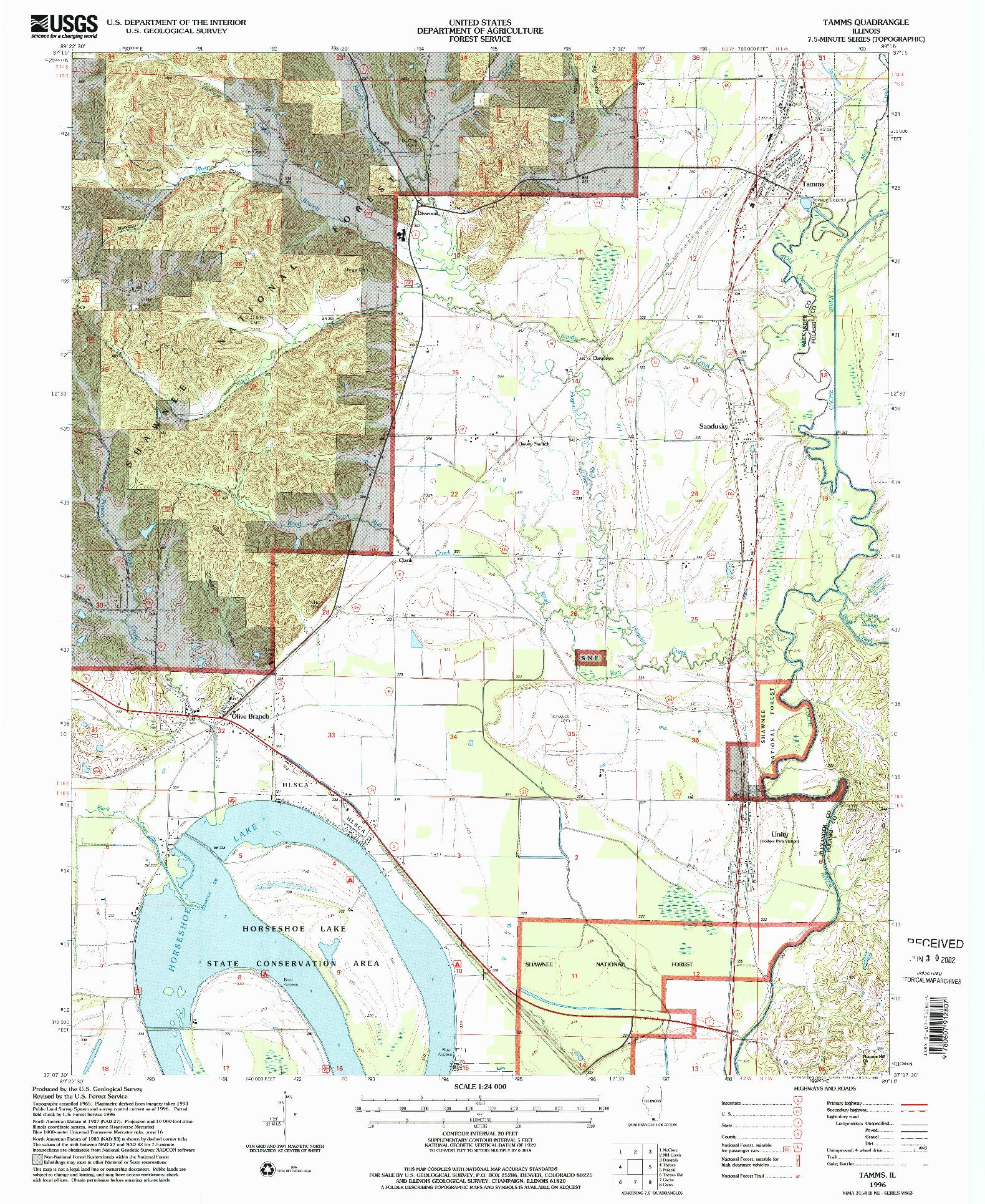 USGS 1:24000-SCALE QUADRANGLE FOR TAMMS, IL 1996