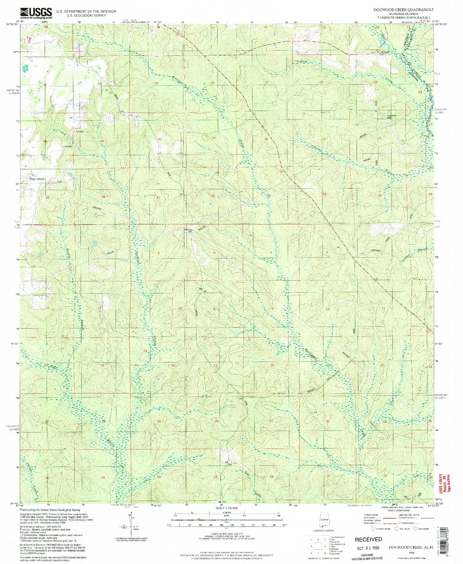 USGS 1:24000-SCALE QUADRANGLE FOR DOGWOOD CREEK, AL 1994