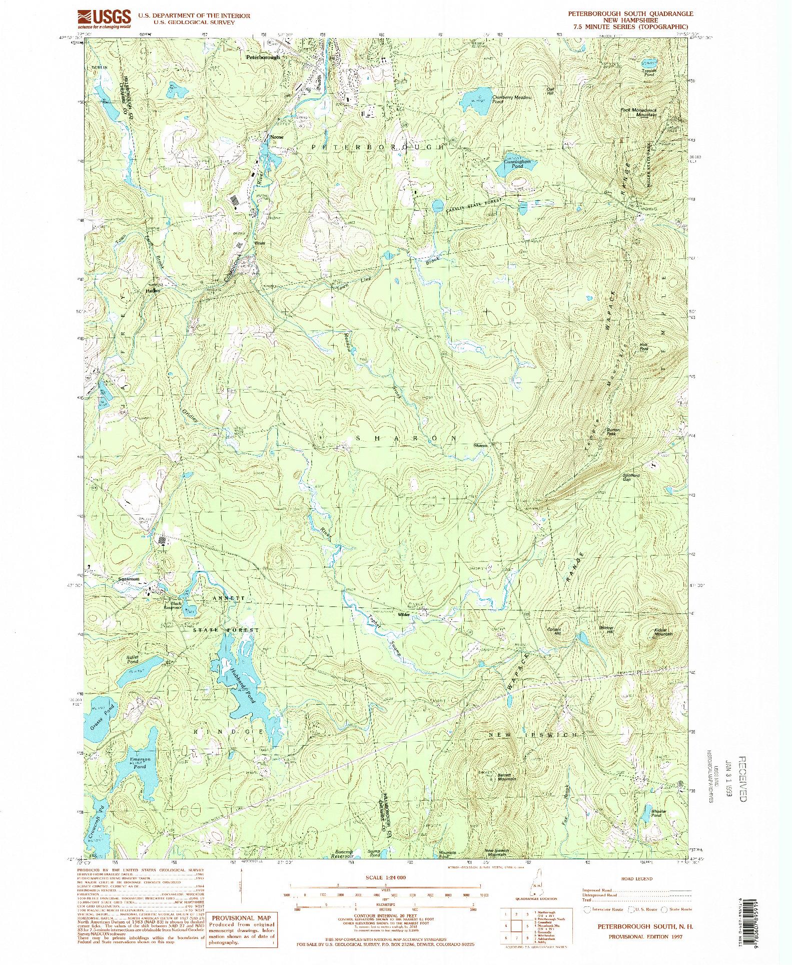 USGS 1:24000-SCALE QUADRANGLE FOR PETERBOROUGH SOUTH, NH 1997