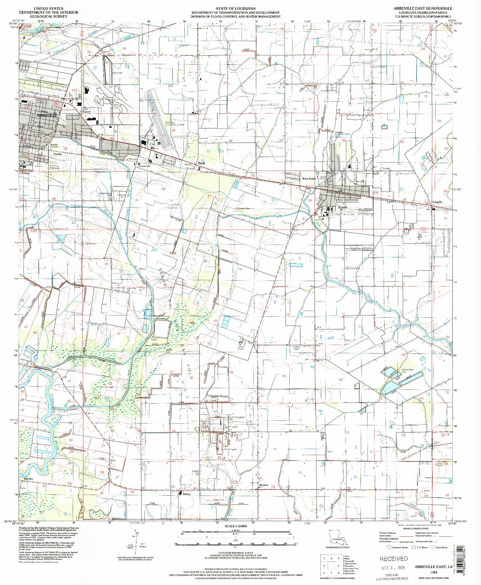 USGS 1:24000-SCALE QUADRANGLE FOR ABBEVILLE EAST, LA 1994