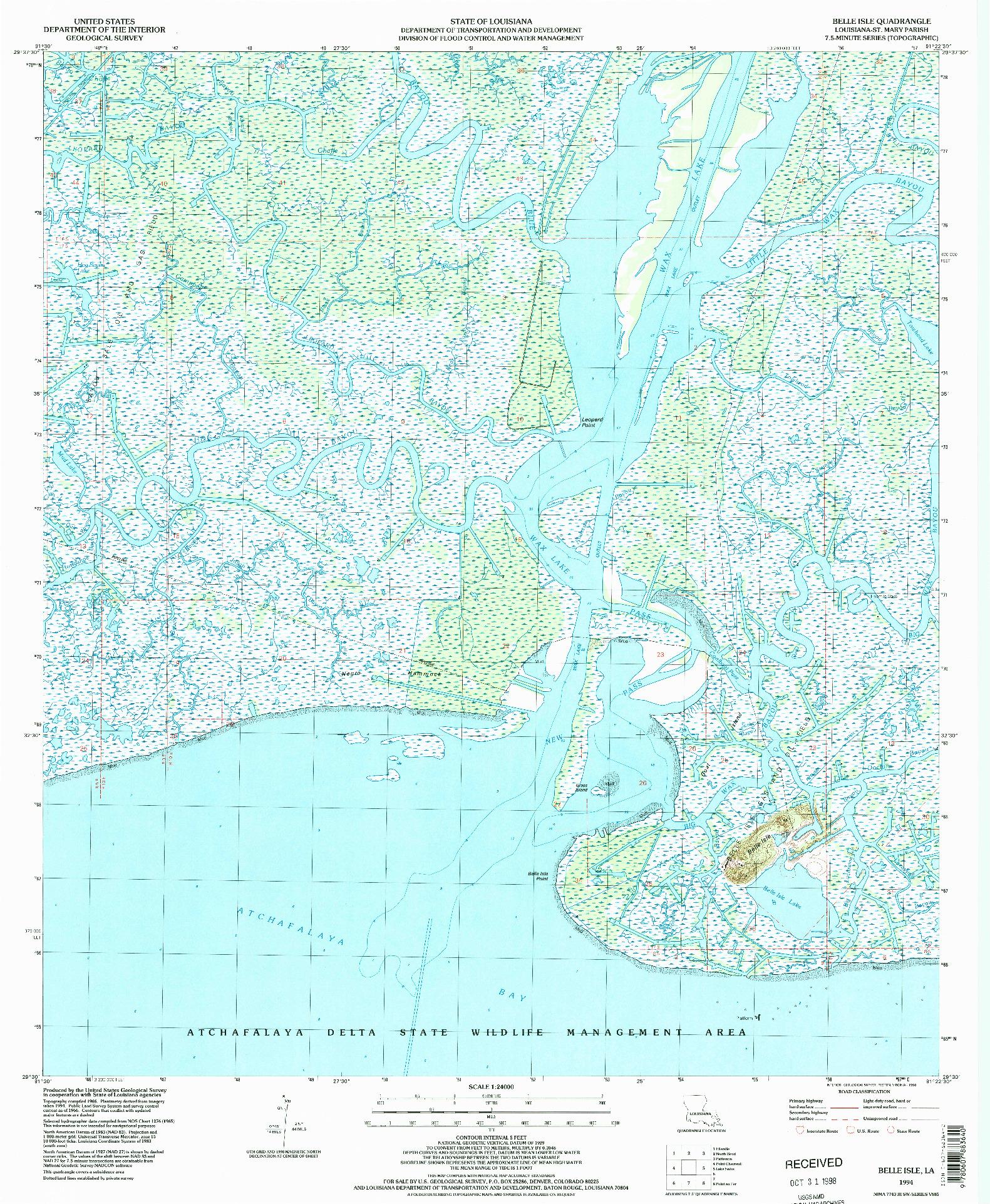 USGS 1:24000-SCALE QUADRANGLE FOR BELLE ISLE, LA 1994