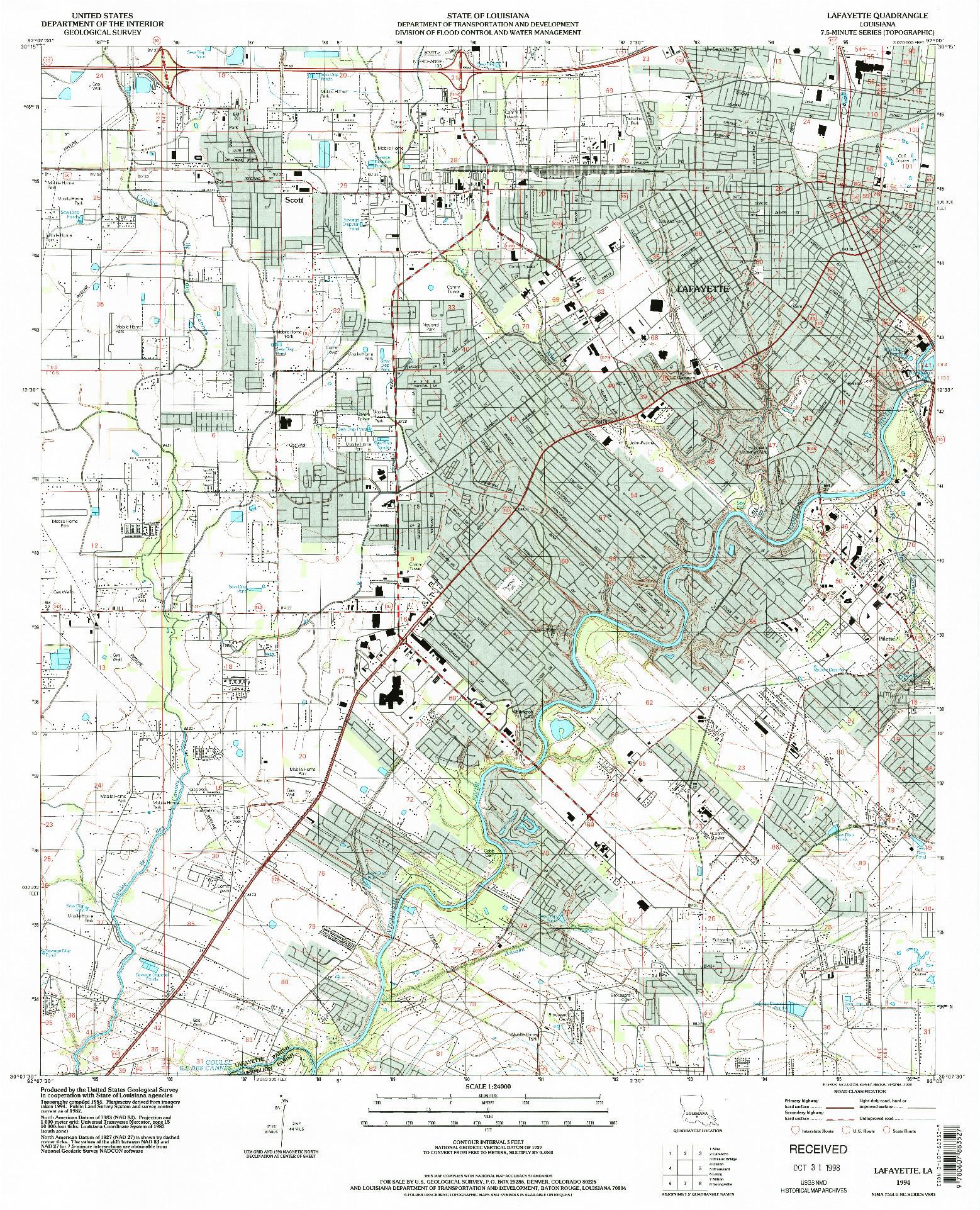 USGS 1:24000-SCALE QUADRANGLE FOR LAFAYETTE, LA 1994
