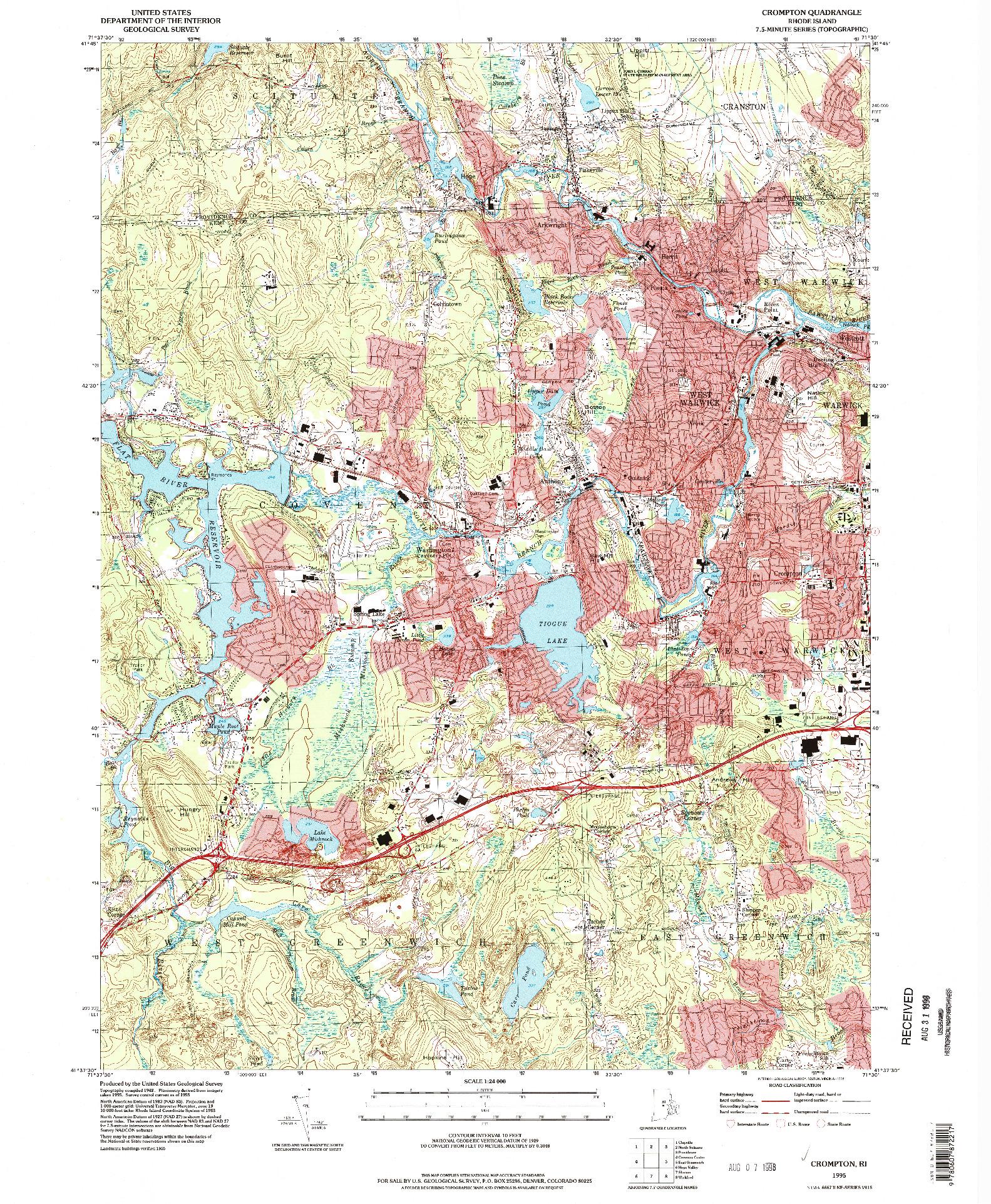 USGS 1:24000-SCALE QUADRANGLE FOR CROMPTON, RI 1995