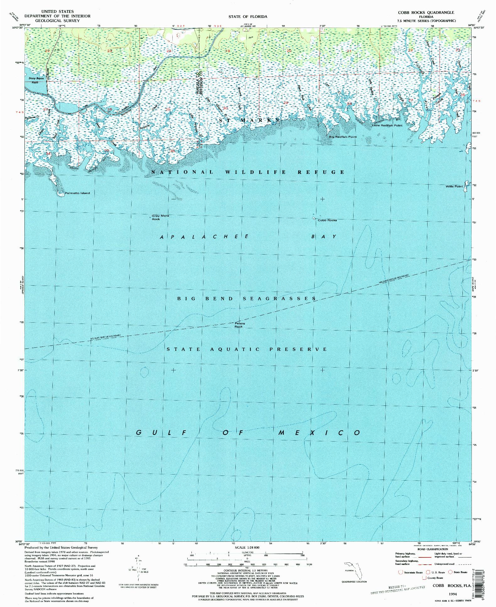 USGS 1:24000-SCALE QUADRANGLE FOR COBB ROCKS, FL 1994