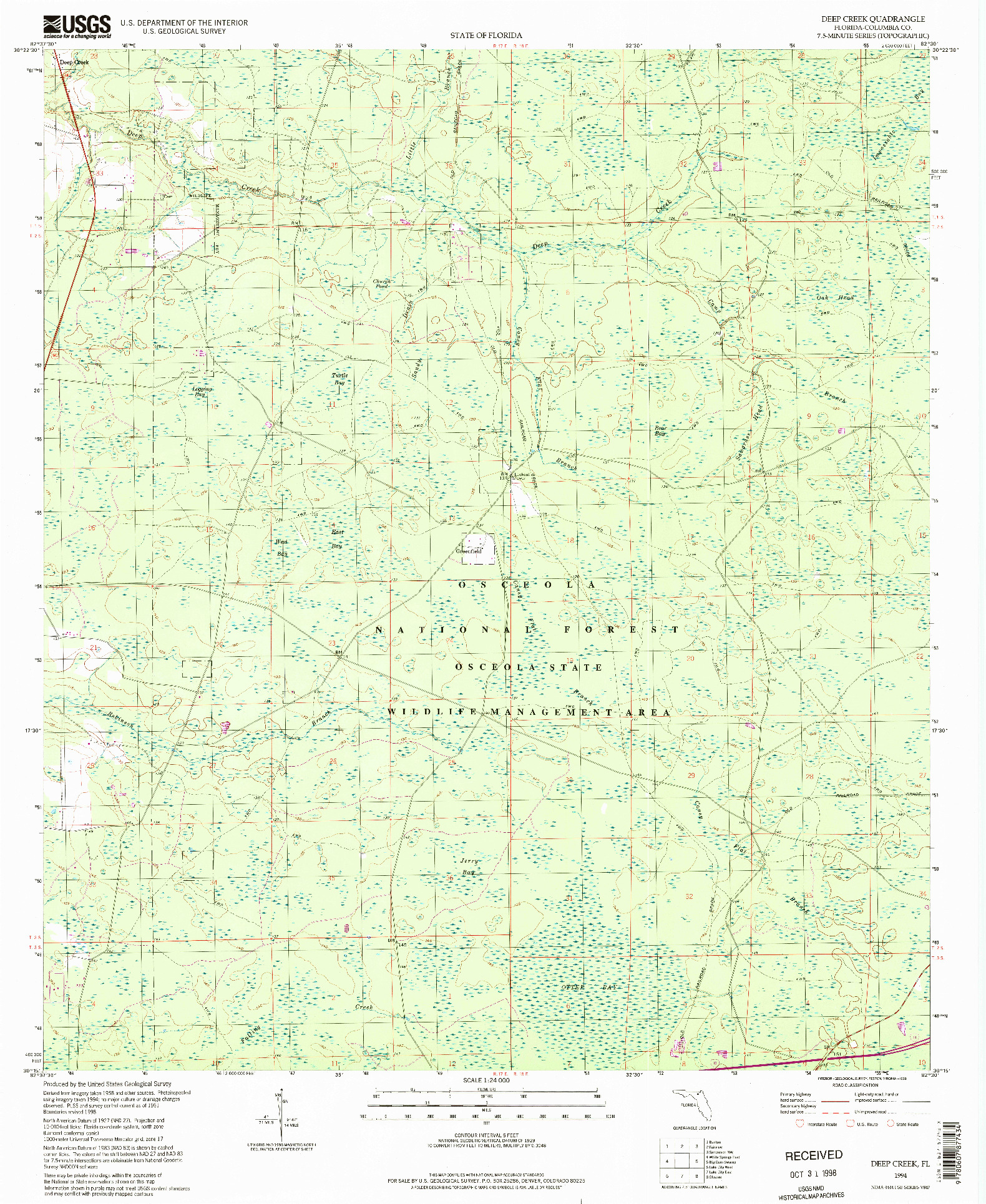 USGS 1:24000-SCALE QUADRANGLE FOR DEEP CREEK, FL 1994